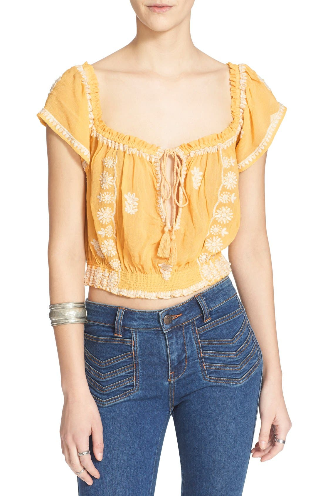 FREE PEOPLE,                             'Paisley Park' Peasant Top,                             Alternate thumbnail 5, color,                             771