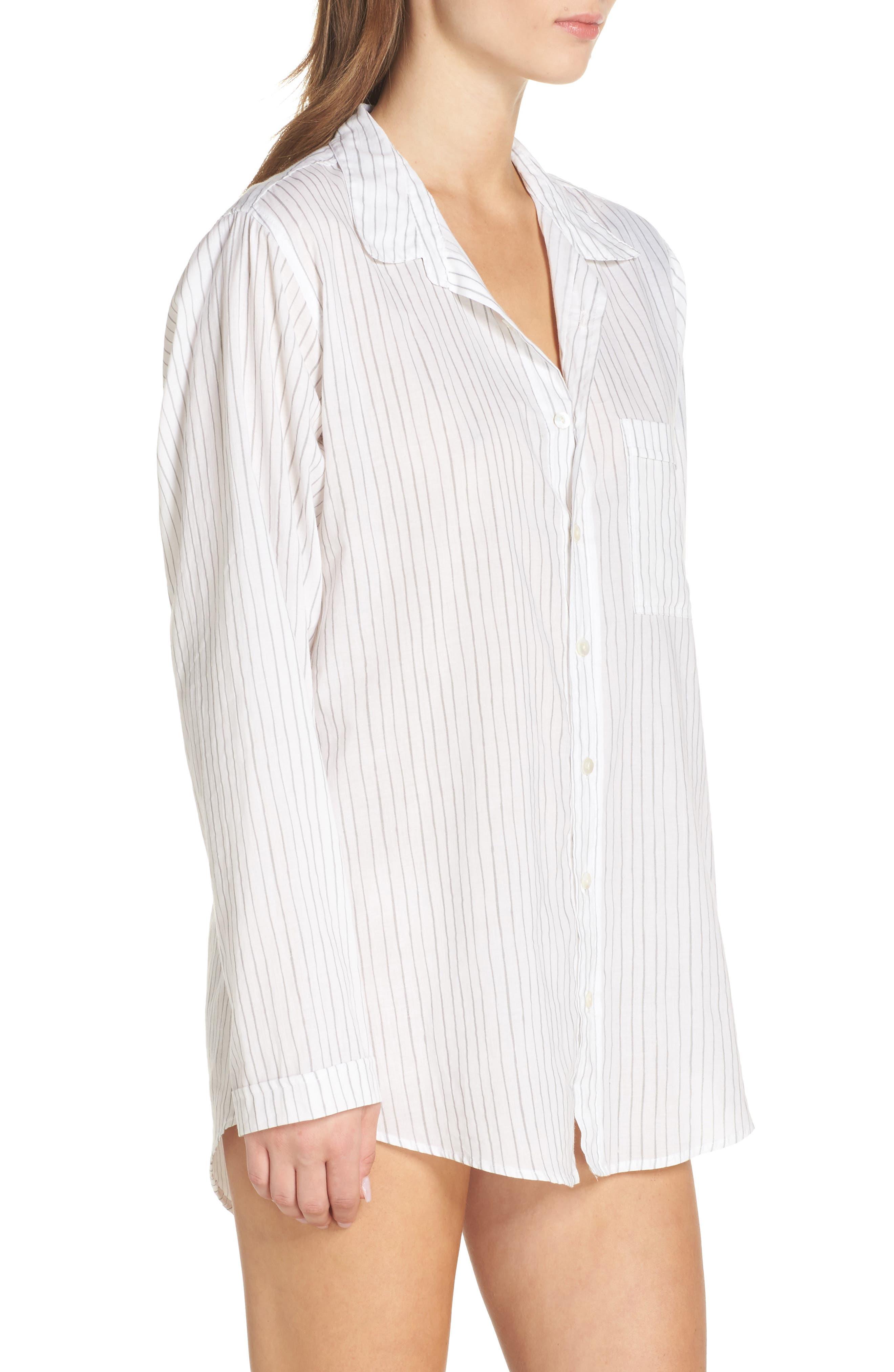 Pinstripe Boyfriend Sleep Shirt,                             Alternate thumbnail 3, color,                             020
