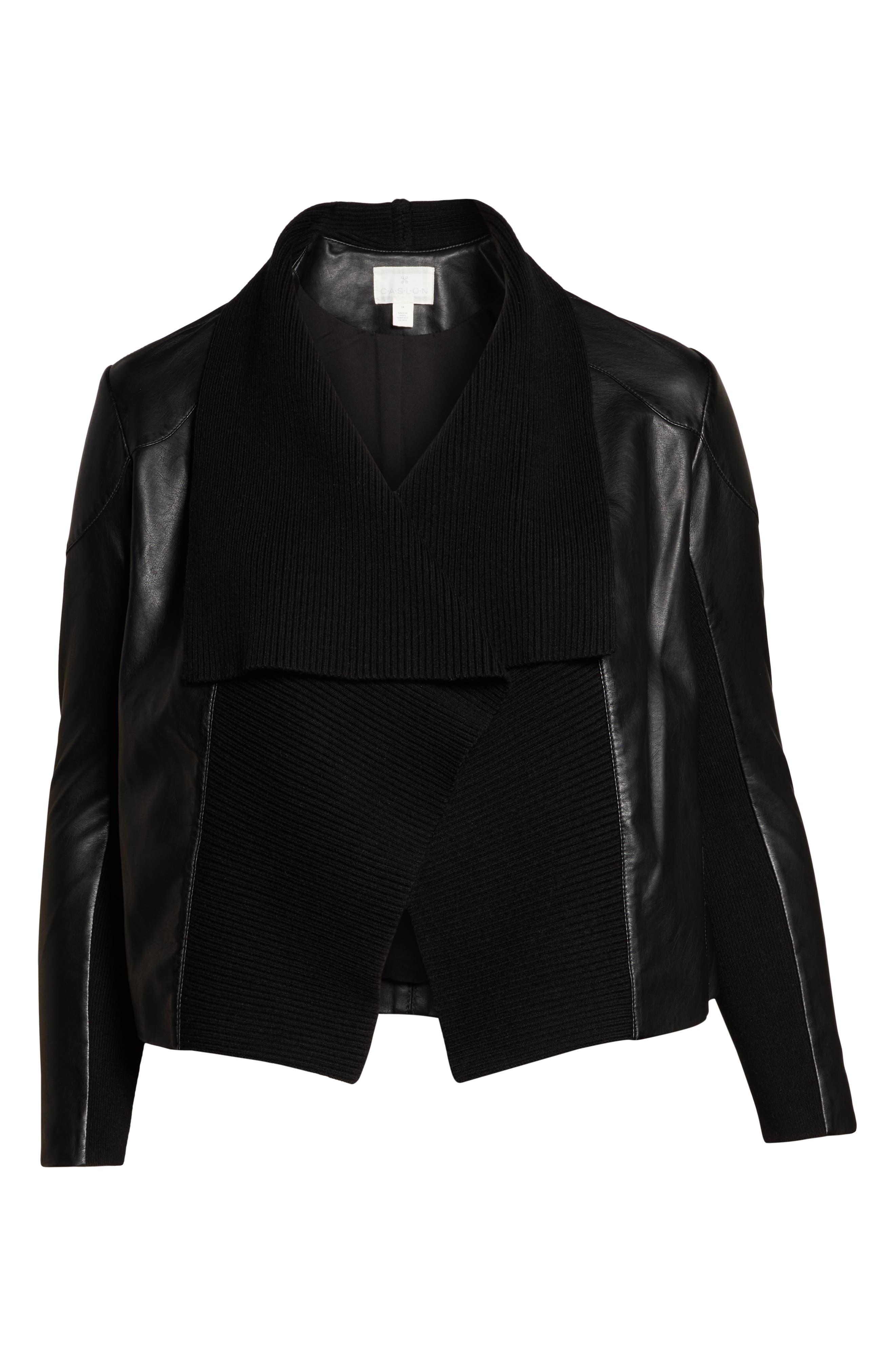 Ribbed Drape Front Faux Leather Jacket,                             Alternate thumbnail 6, color,                             BLACK