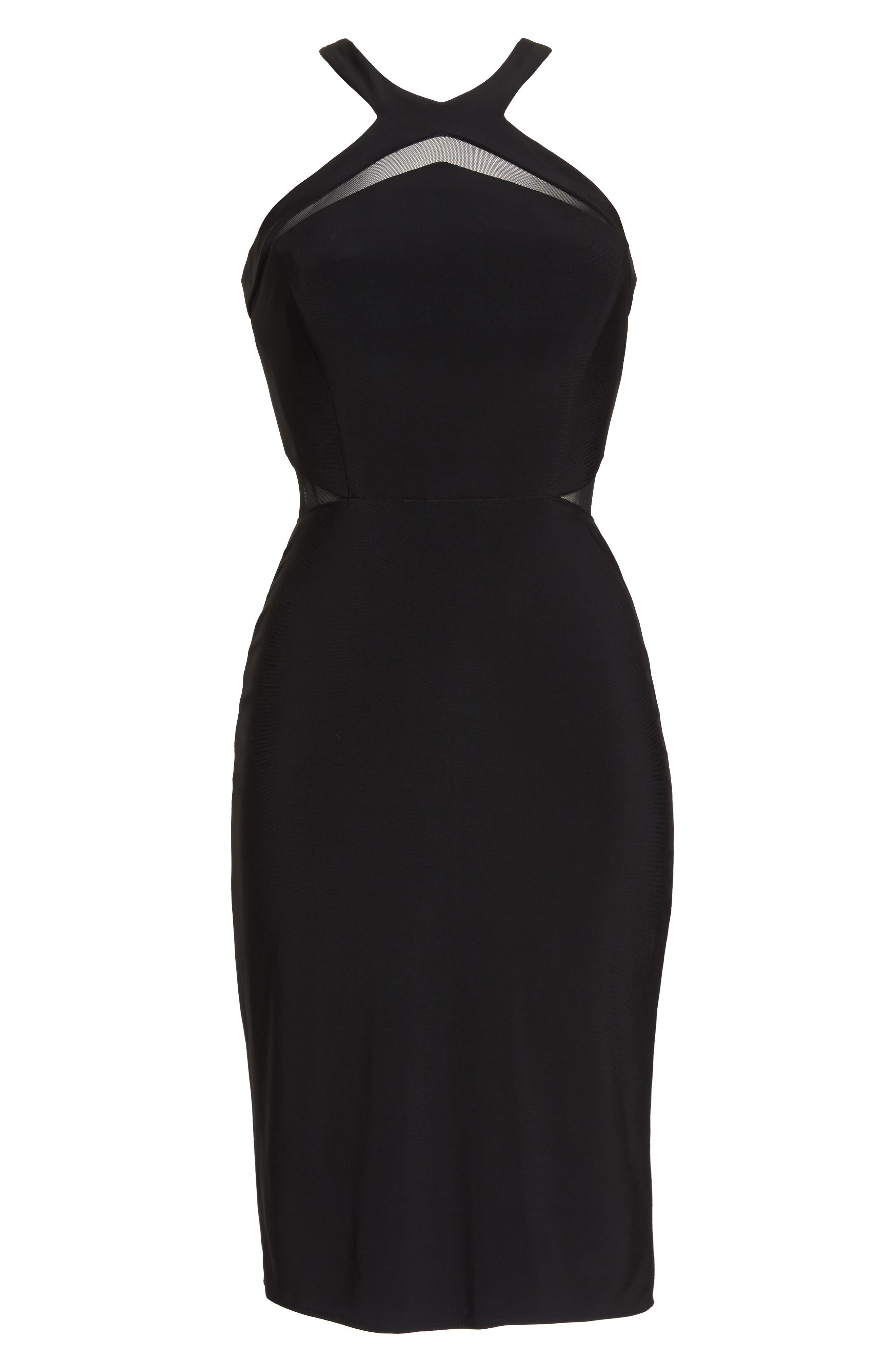 Mesh Inset Sheath Dress,                             Alternate thumbnail 7, color,                             BLACK