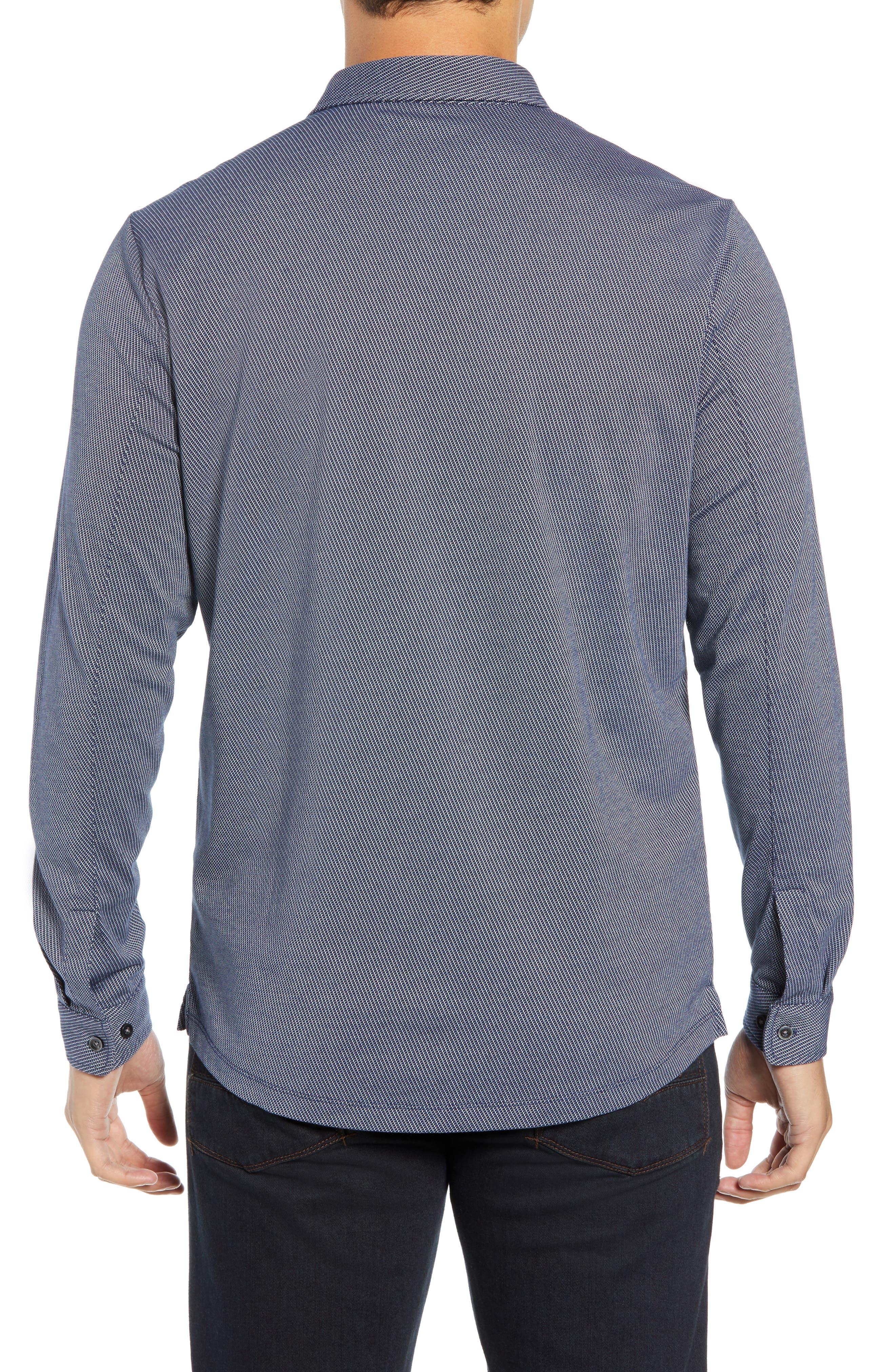 Colby Regular Fit Knit Sport Shirt,                             Alternate thumbnail 3, color,                             NAVY