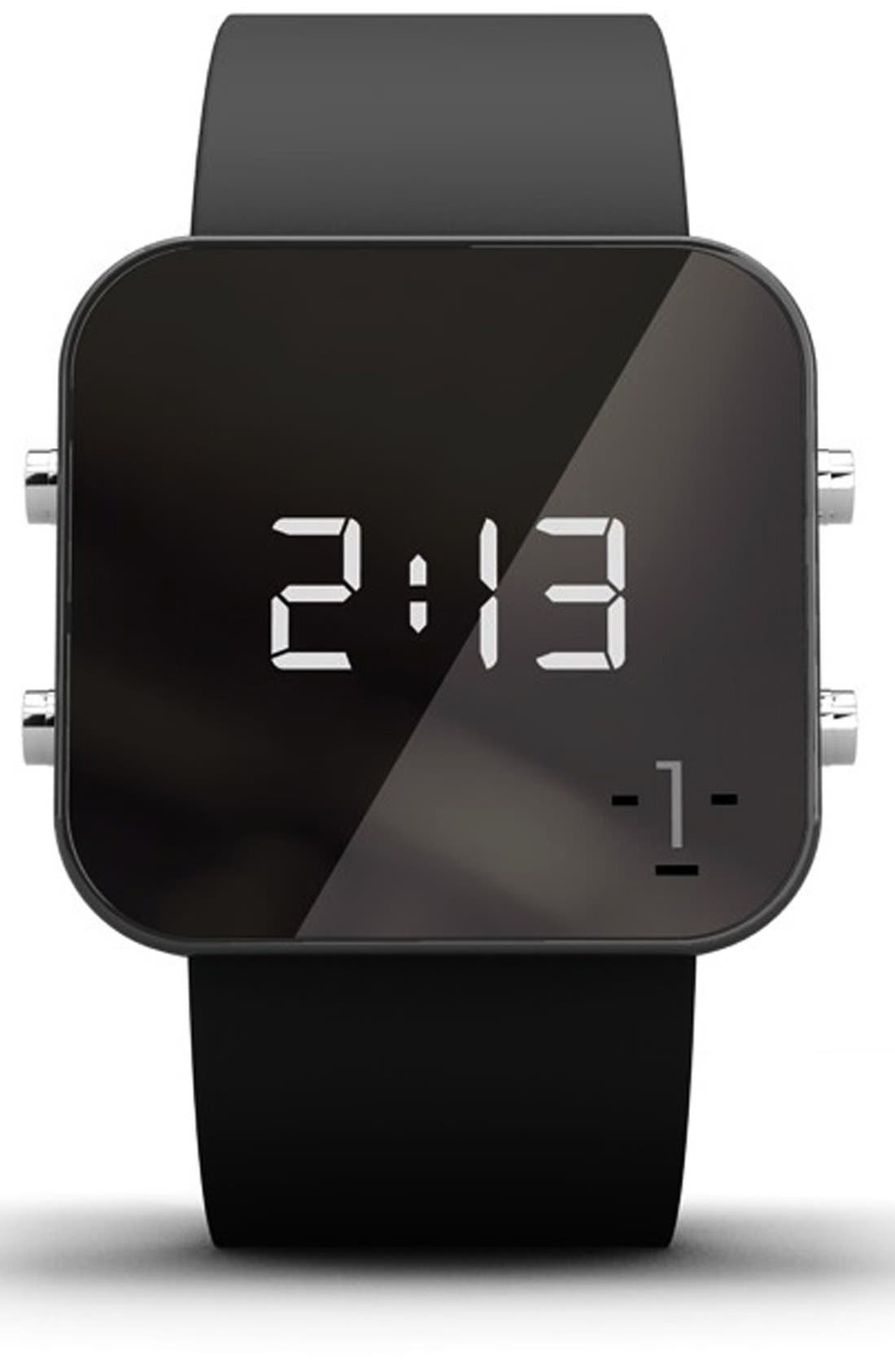 1:FACE,                             'Cancer' Square Digital Silicone Strap Watch, 38mm,                             Main thumbnail 1, color,                             001