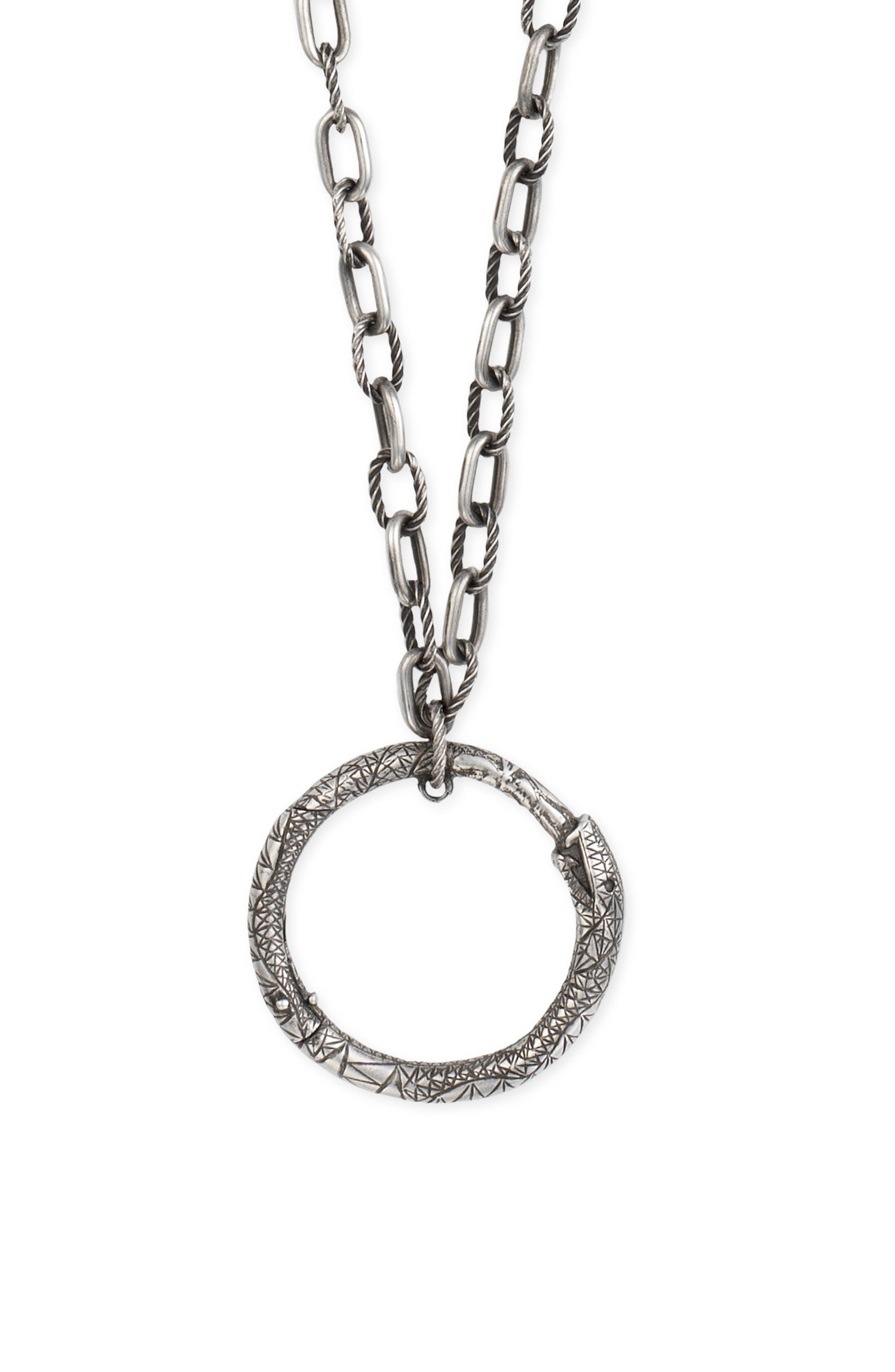 Ouroborus Pendant Necklace,                             Main thumbnail 1, color,                             STERLING SILVER