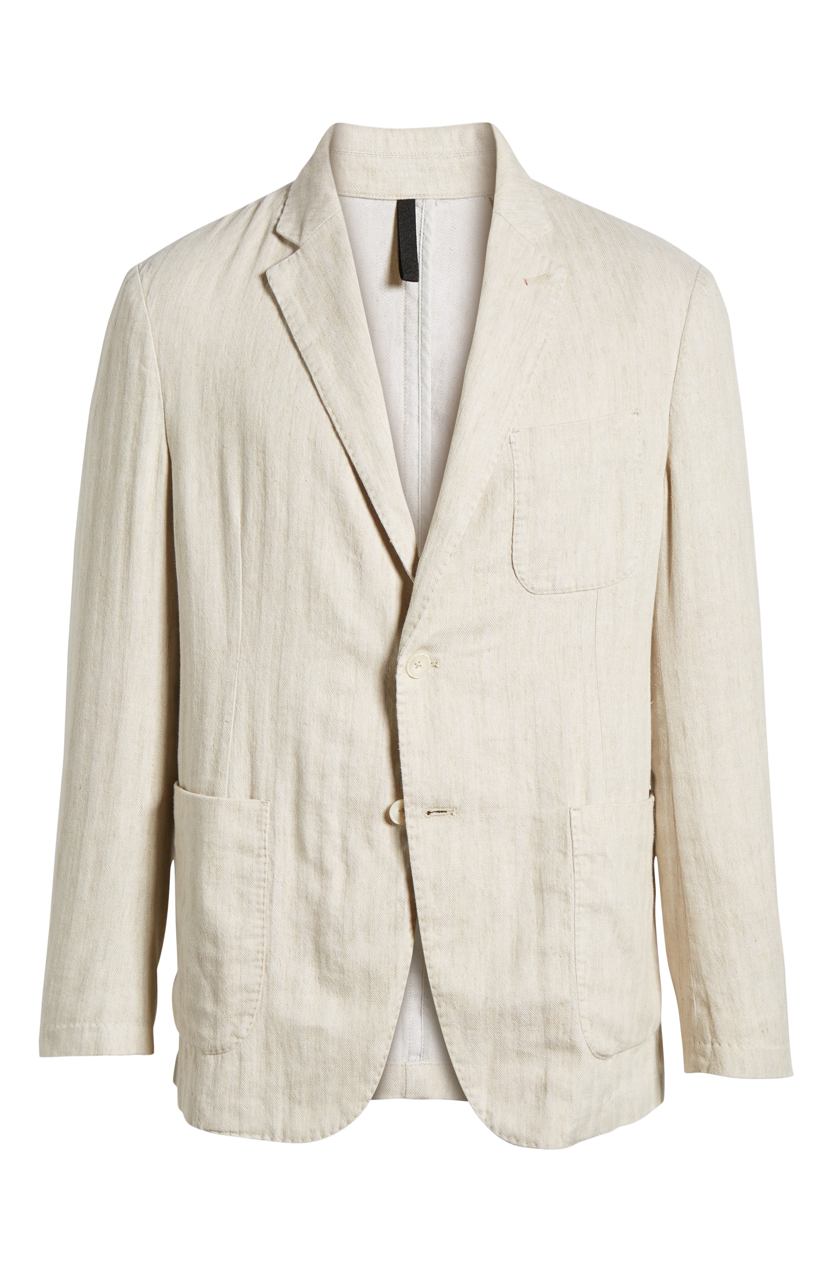 Regular Fit Herringbone Cotton & Linen Blazer,                             Alternate thumbnail 5, color,                             200