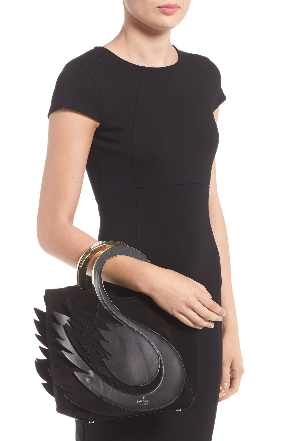 'on pointe - swan' suede & leather handbag,                             Alternate thumbnail 6, color,                             001