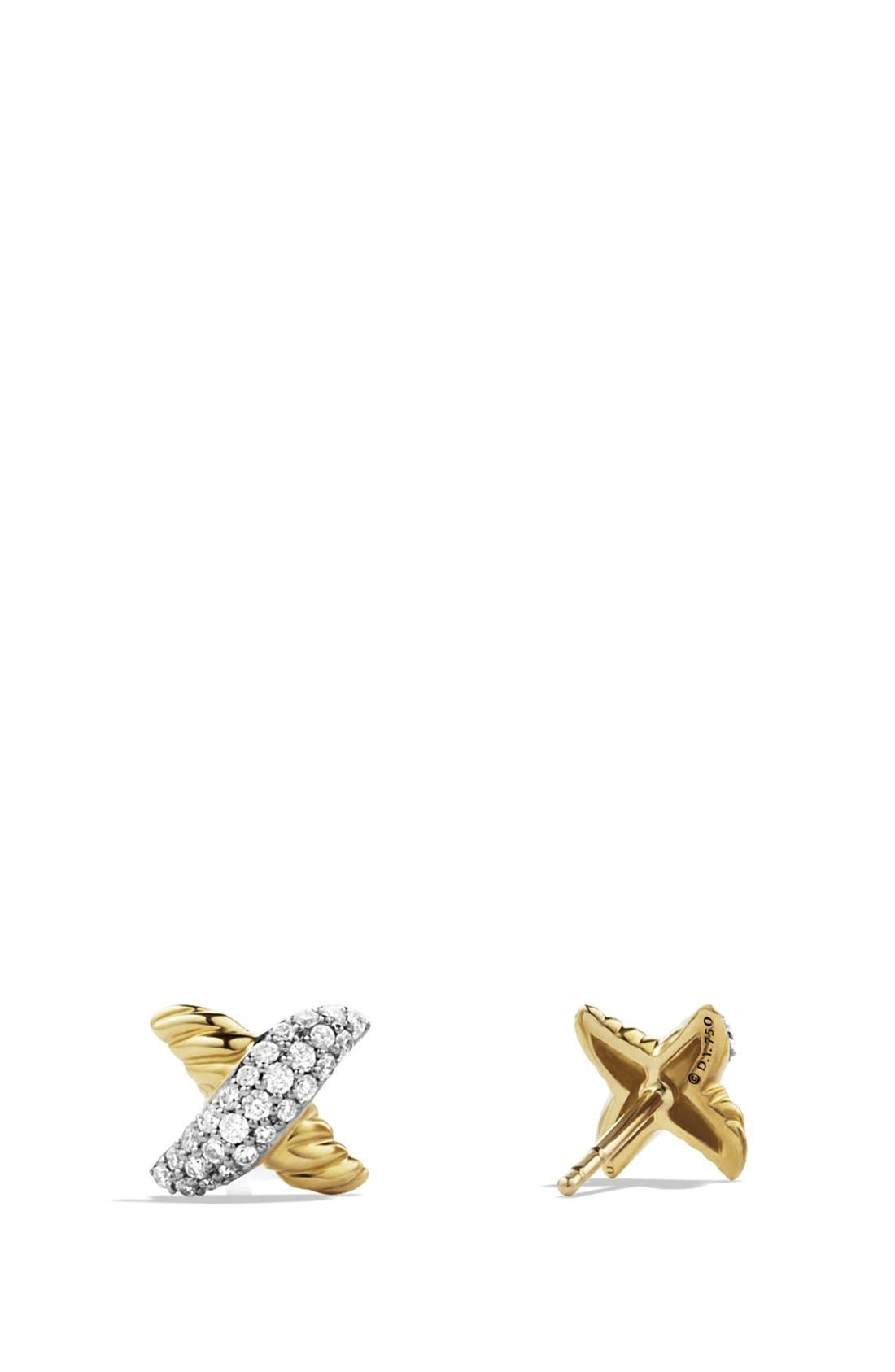 'X' Petite Earrings with Diamonds and Gold,                             Alternate thumbnail 2, color,                             DIAMOND