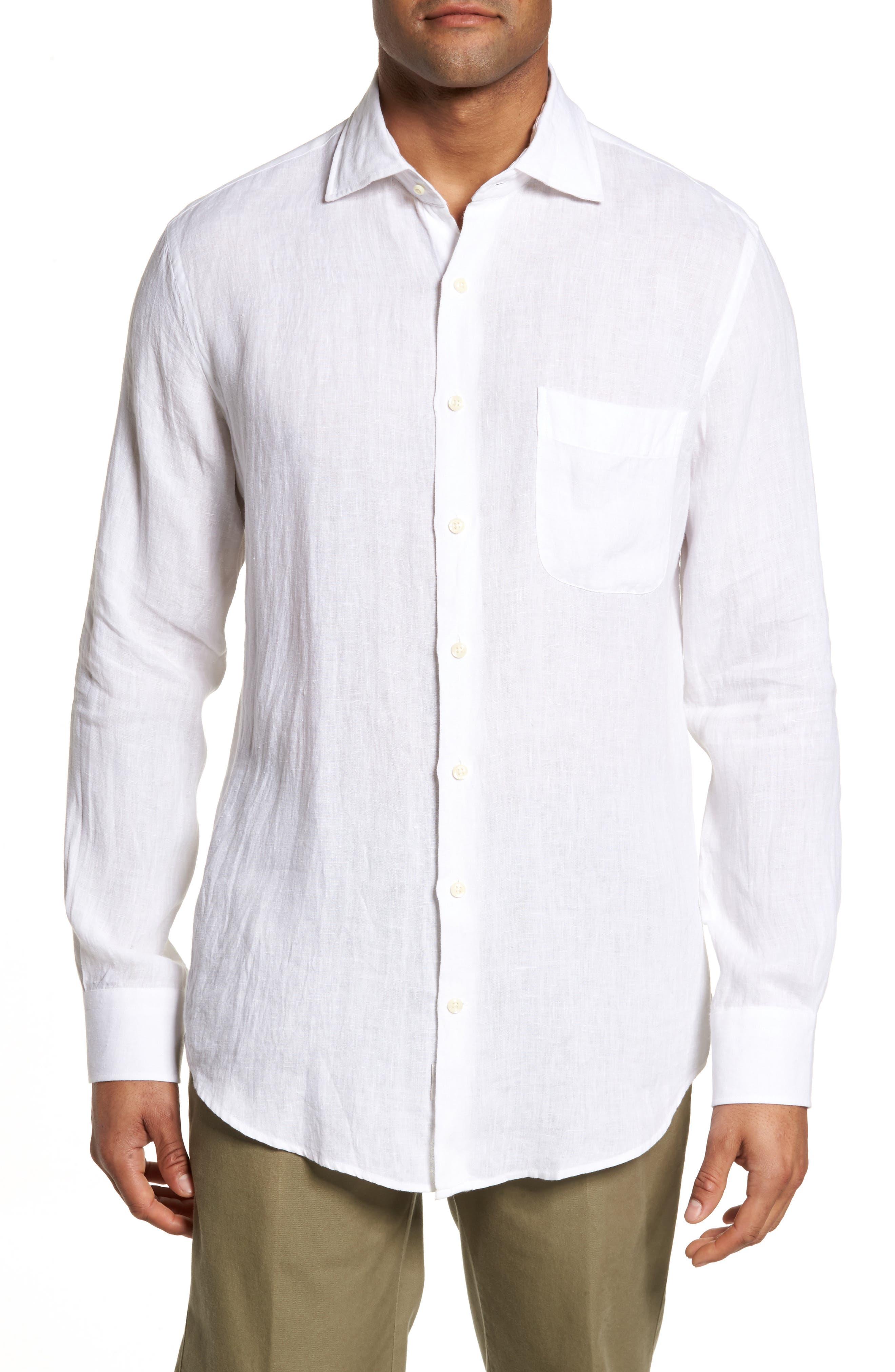 Classic Fit Crown Cool Linen Sport Shirt,                         Main,                         color, 100