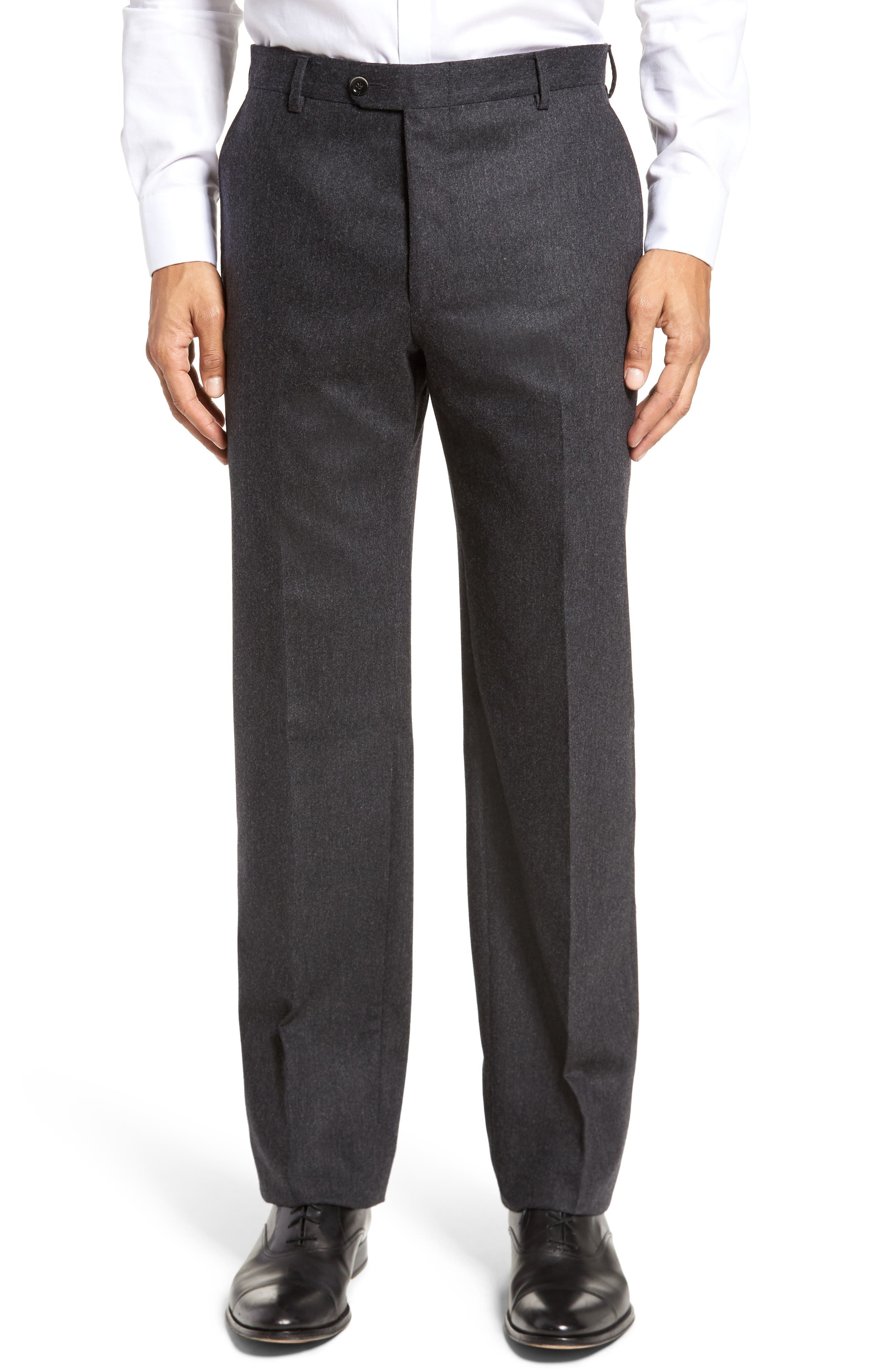 Classic B Fit Flat Front Solid Wool Blend Trousers,                             Main thumbnail 1, color,