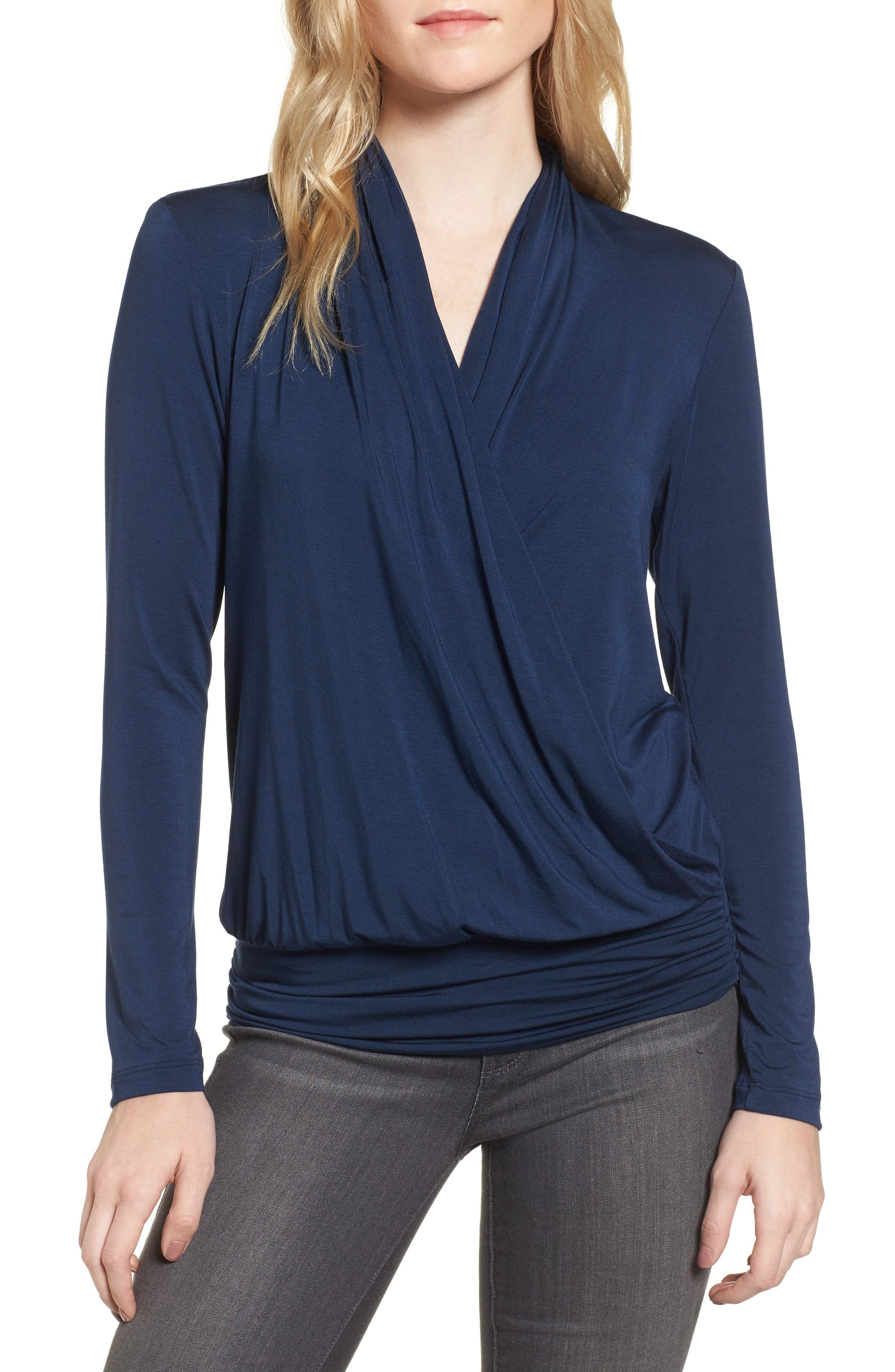 'Angela' Long Sleeve Wrap Front Top,                         Main,                         color, 450