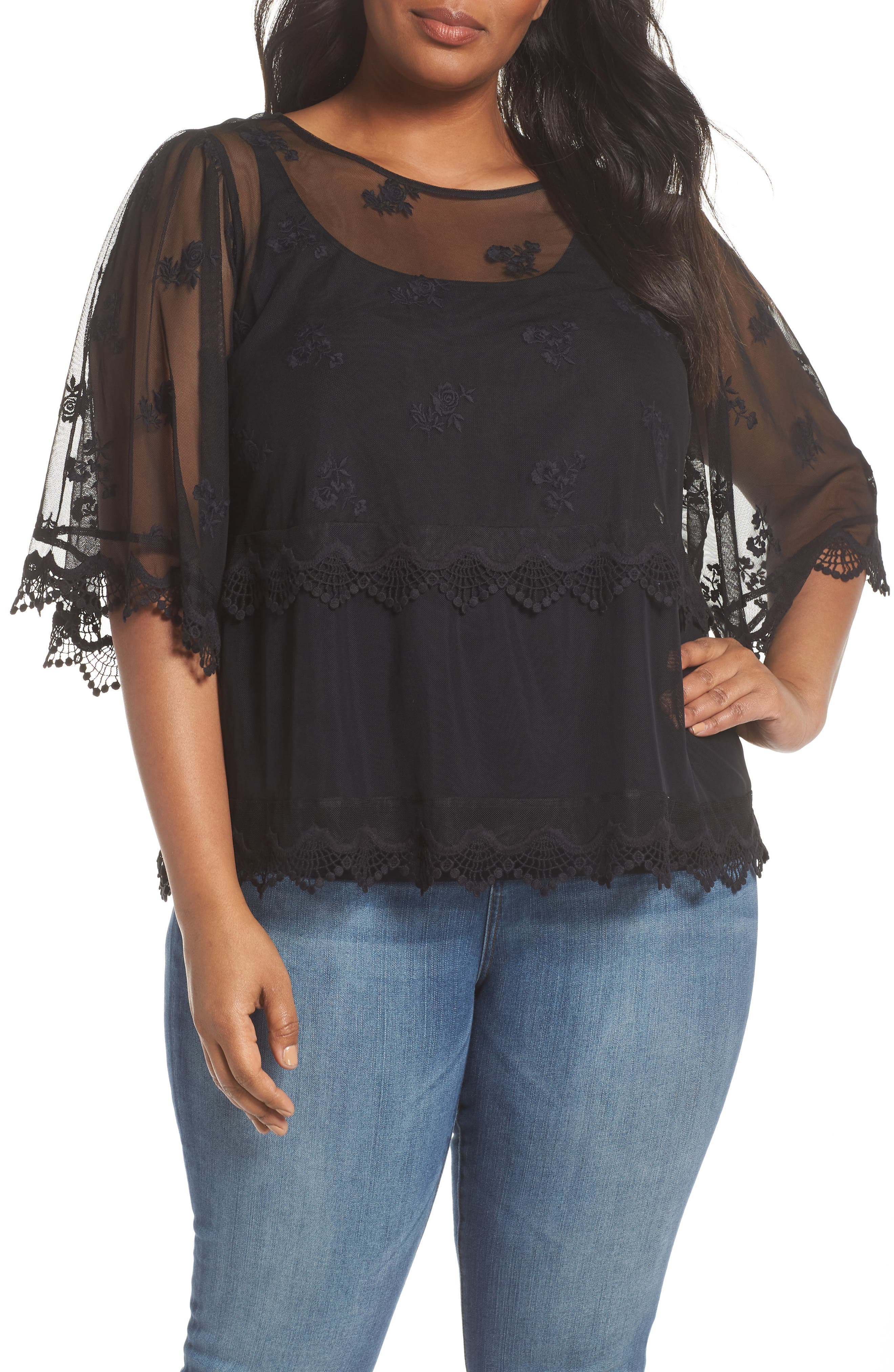 Scallop Trim Embroidered Mesh Top,                             Main thumbnail 1, color,                             RICH BLACK