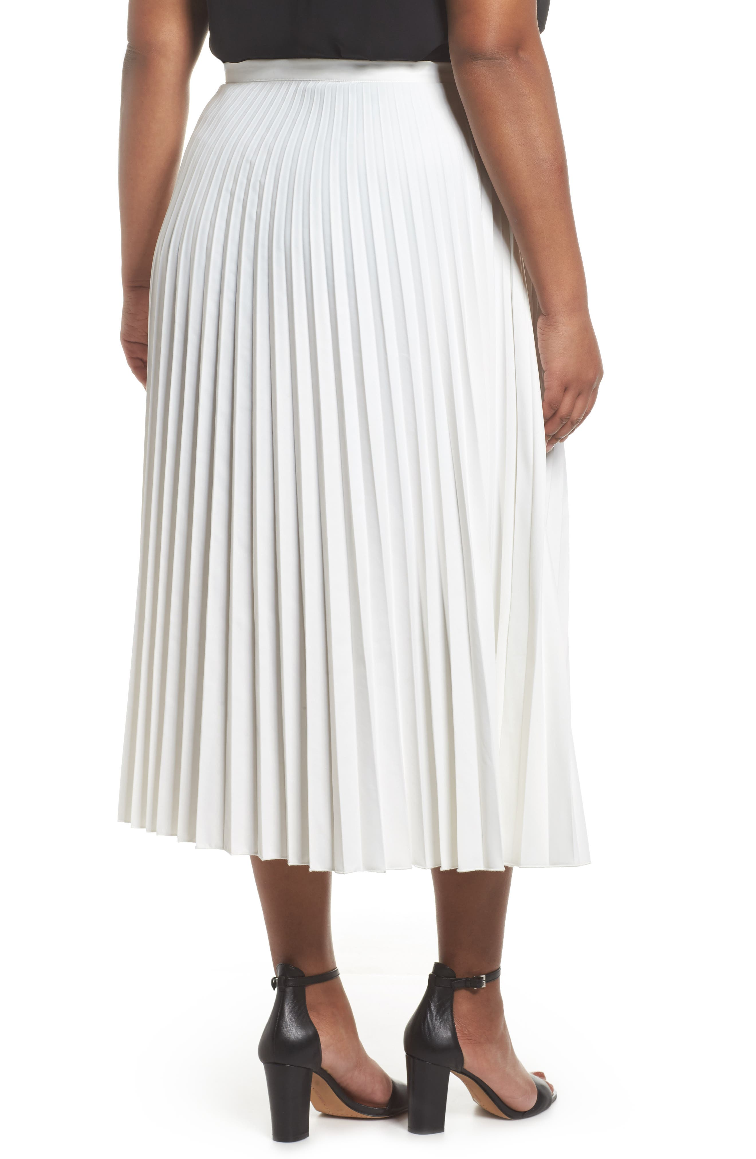 Pleated Long Skirt,                             Alternate thumbnail 2, color,                             100