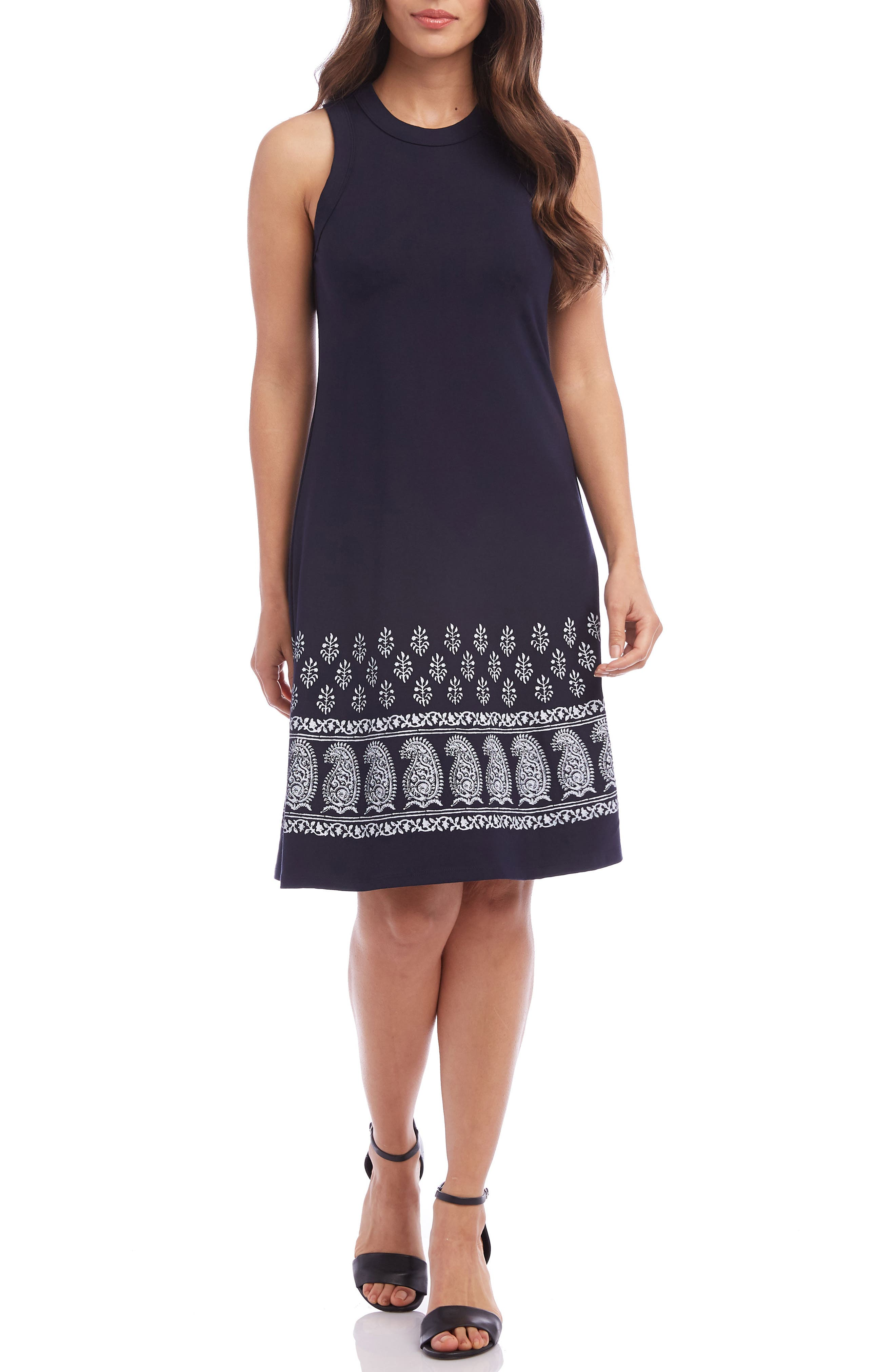 Karen Kane Embroidered A-Line Dress, Blue