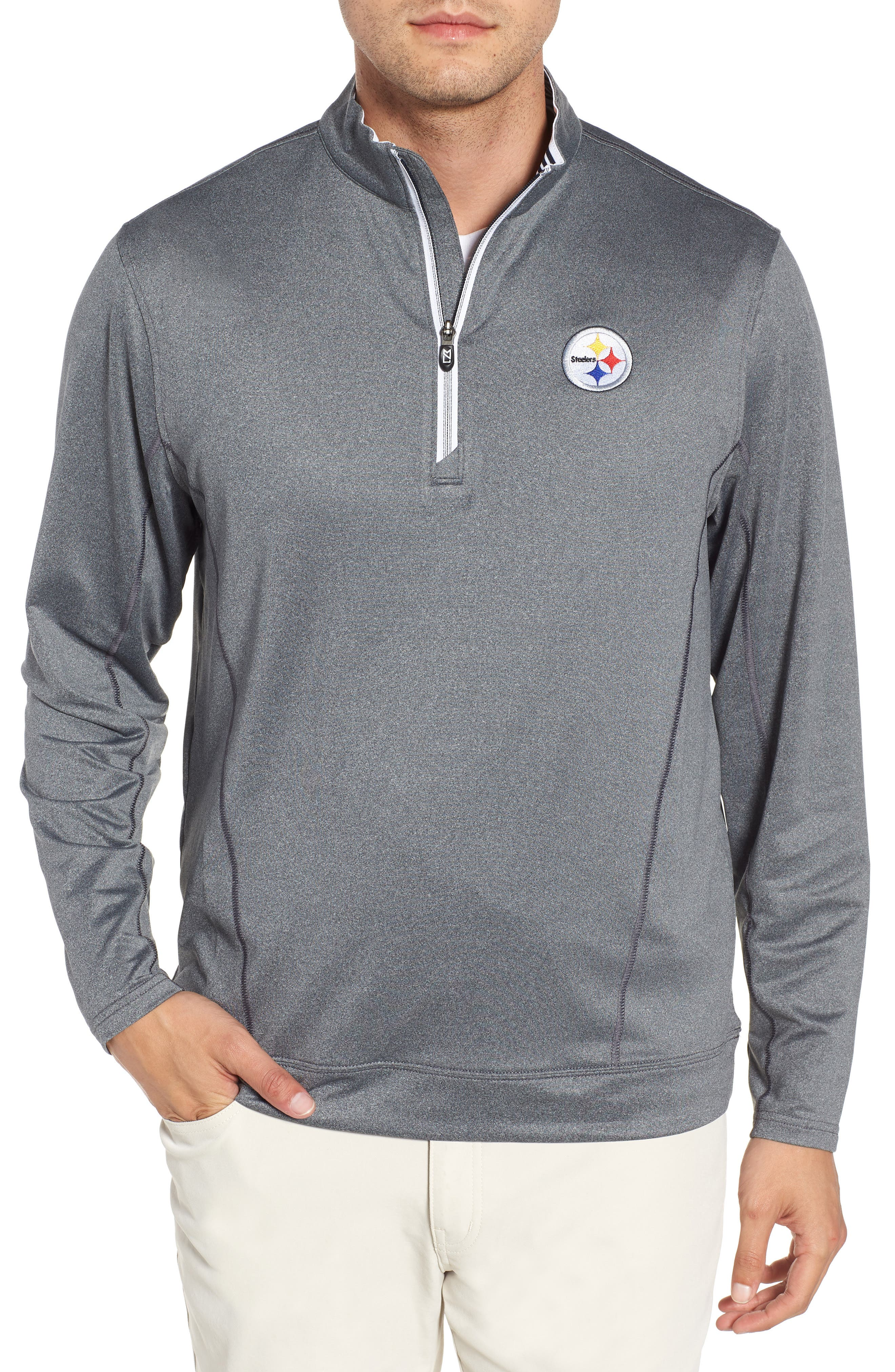 Endurance Pittsburgh Steelers Regular Fit Pullover,                             Main thumbnail 1, color,                             CHARCOAL HEATHER