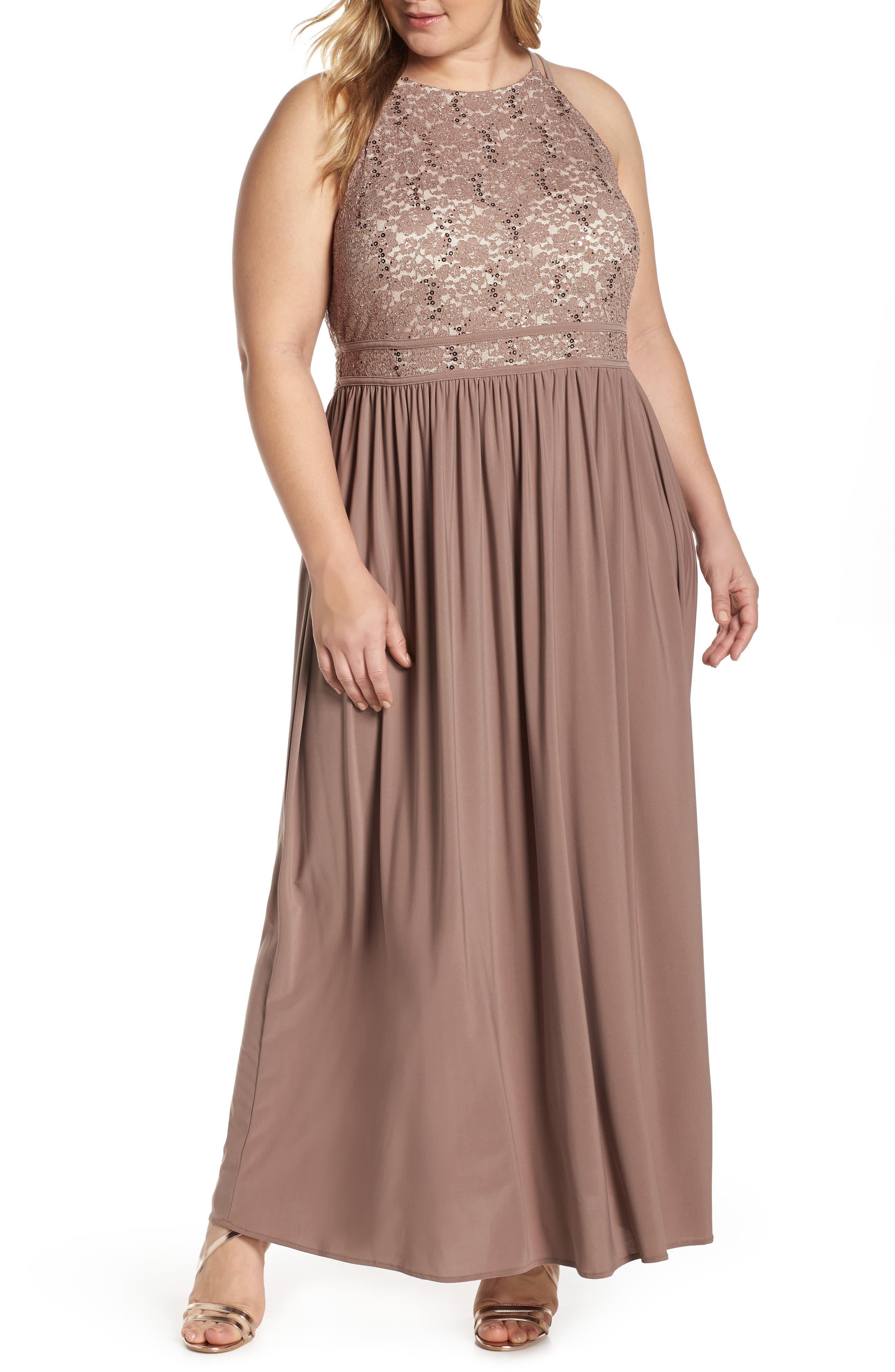 Plus Size Morgan & Co. Lace Bodice Evening Dress, Beige