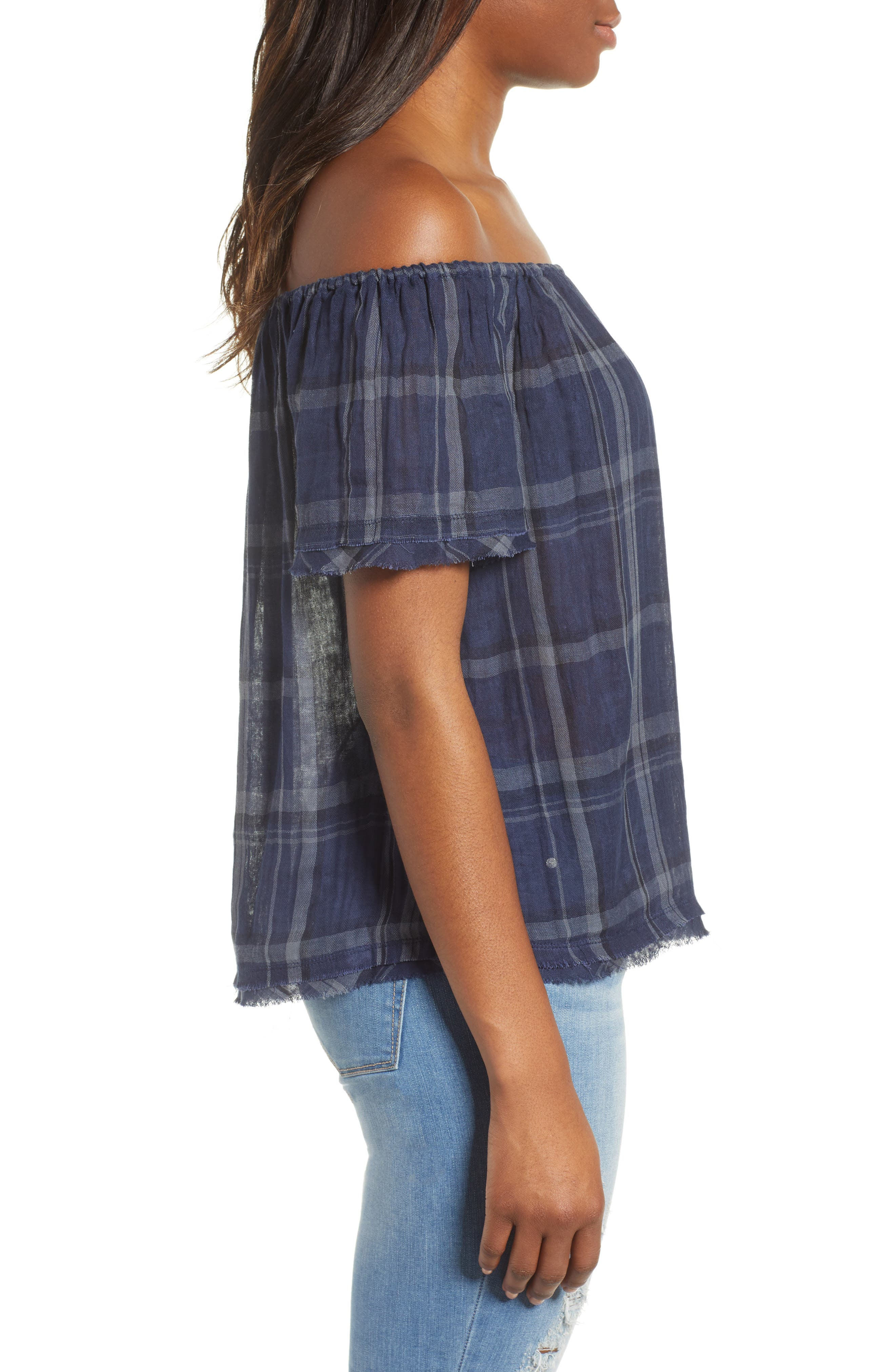 Off Shoulder Plaid Top,                             Alternate thumbnail 3, color,                             460