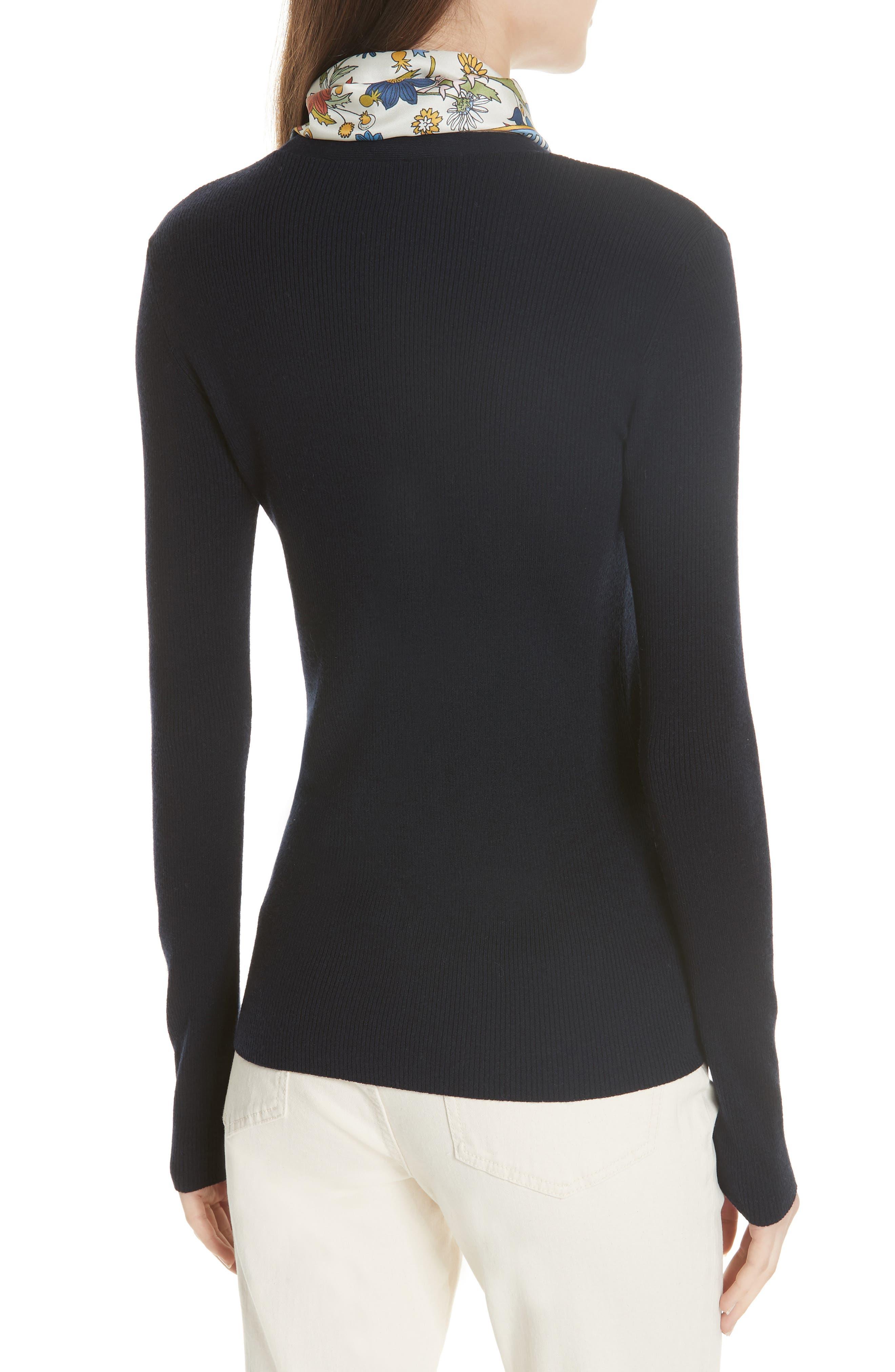 Laura Rib Knit Sweater & Silk Scarf,                             Alternate thumbnail 3, color,                             405