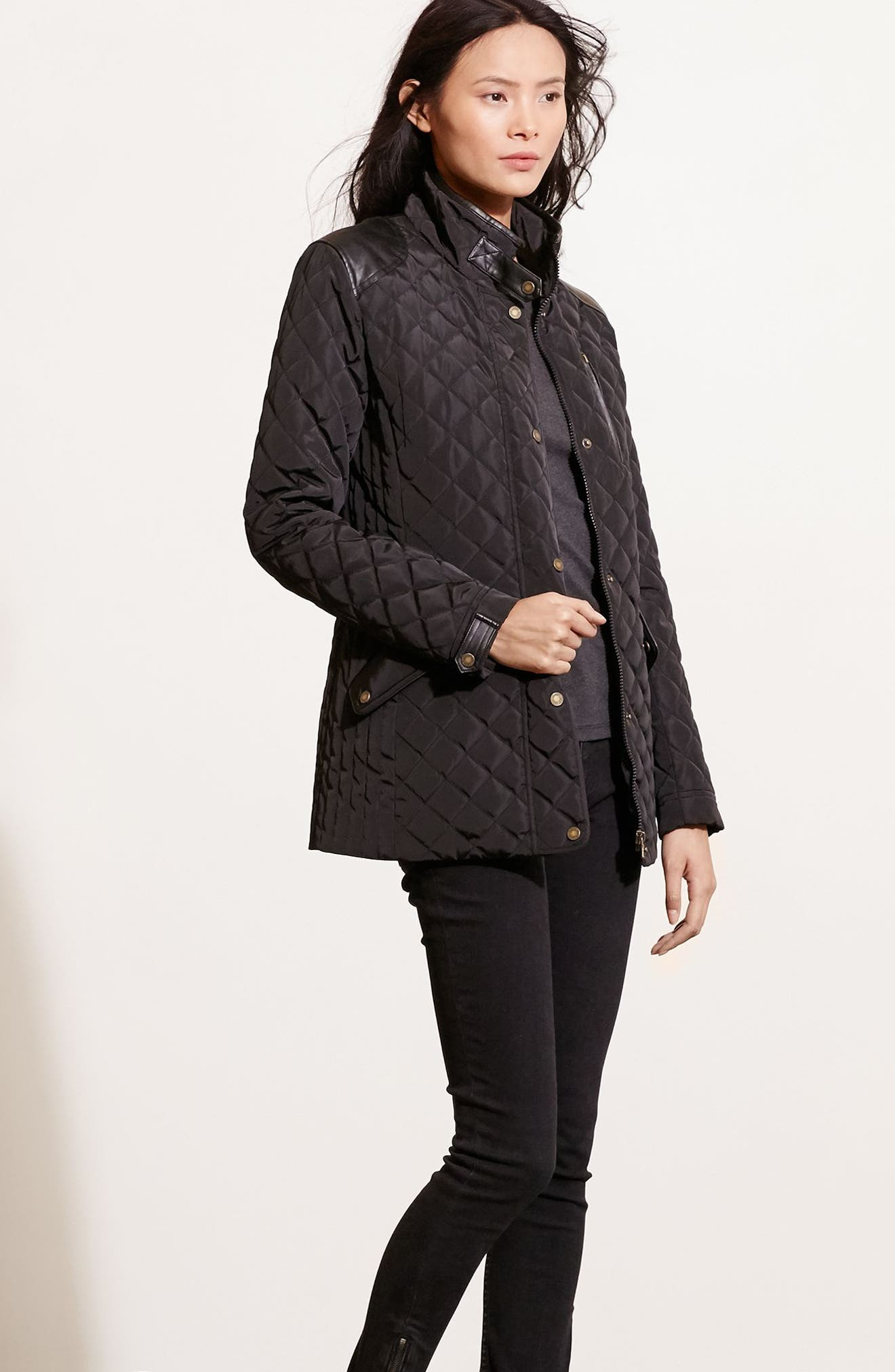 Faux Leather Trim Quilted Coat,                             Alternate thumbnail 2, color,                             BLACK