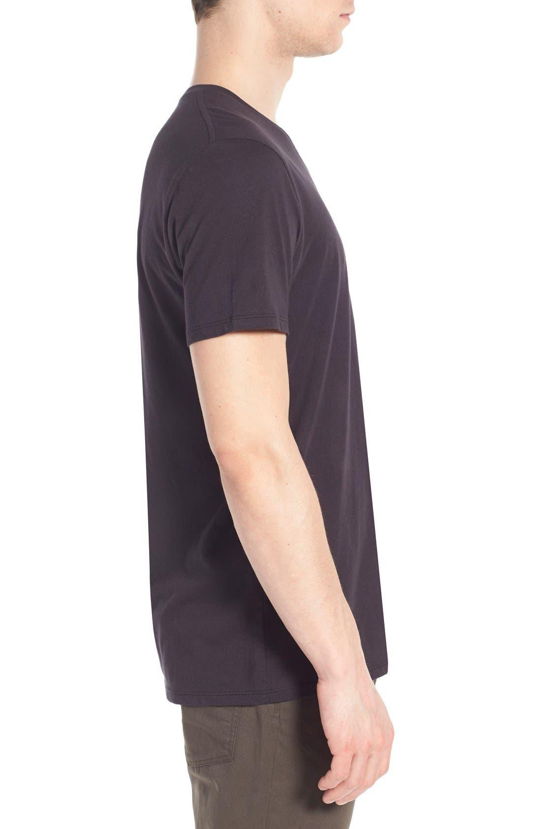 VINCE,                             Pima Cotton V-Neck T-Shirt,                             Alternate thumbnail 9, color,                             BLACK