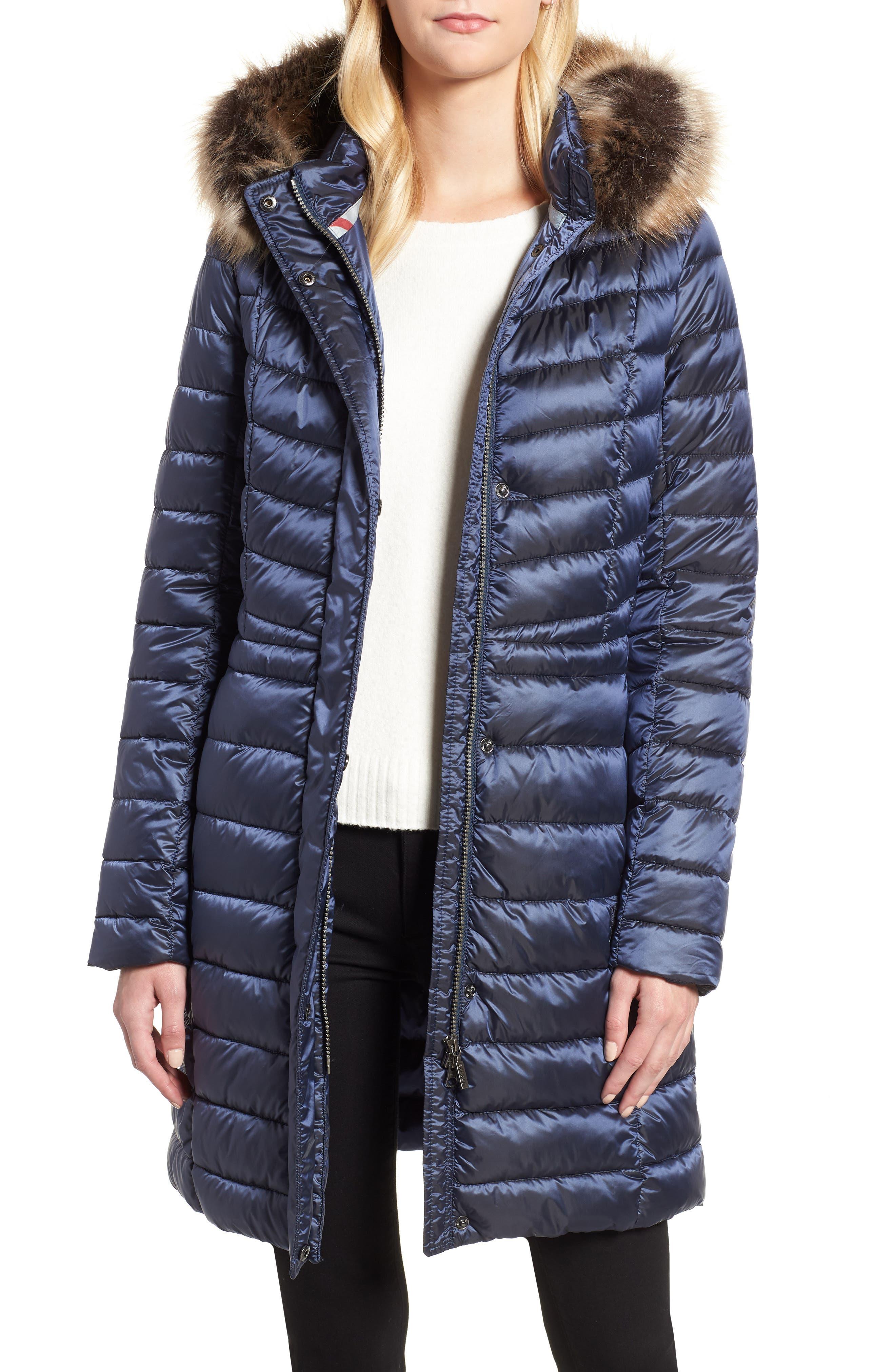 Barbour Berneray Faux Fur Trim Quilted Jacket, US / 16 UK - Blue
