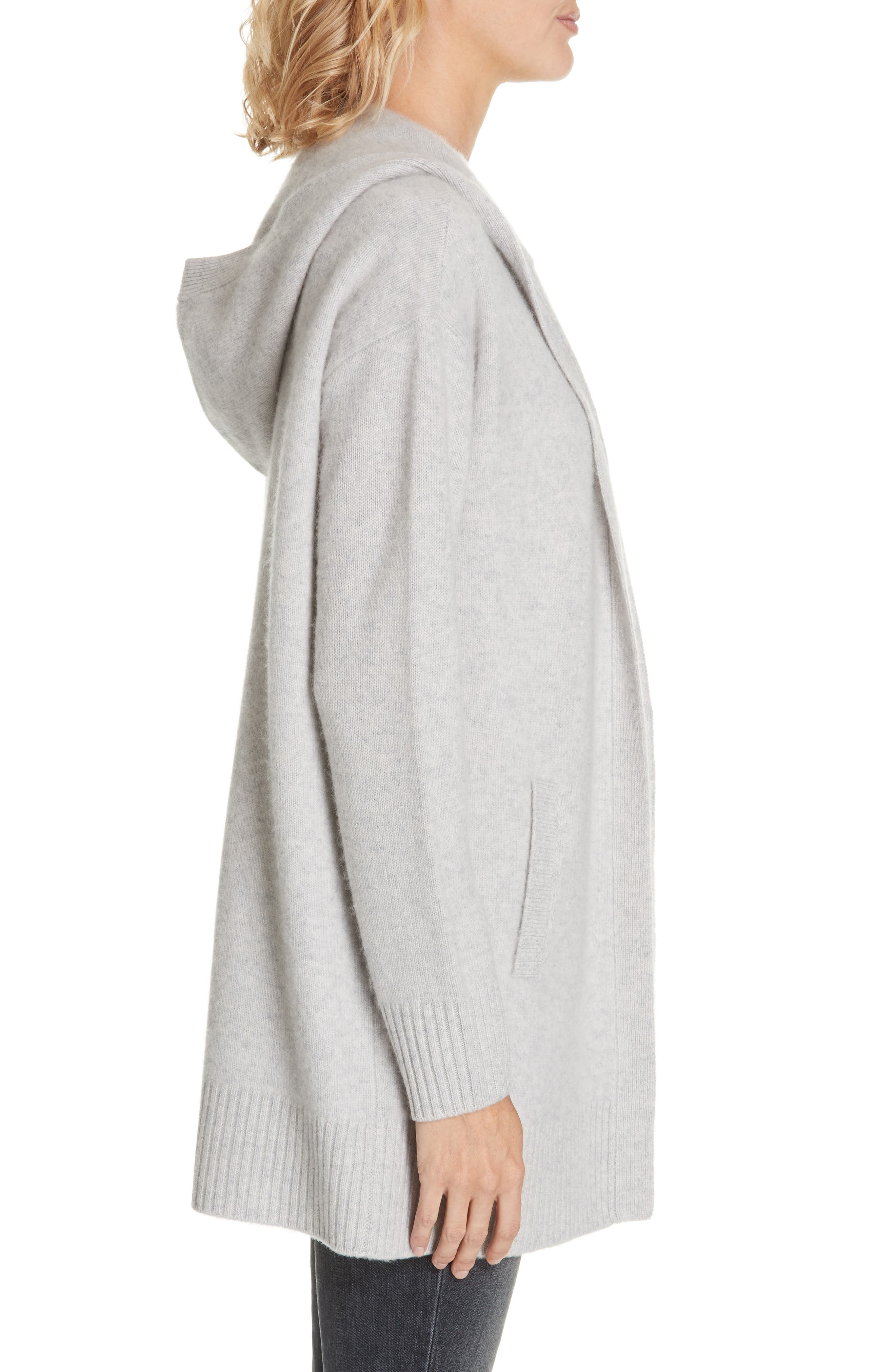 NORDSTROM SIGNATURE,                             Hooded Boiled Cashmere Cardigan,                             Alternate thumbnail 3, color,                             GREY CLAY HEATHER