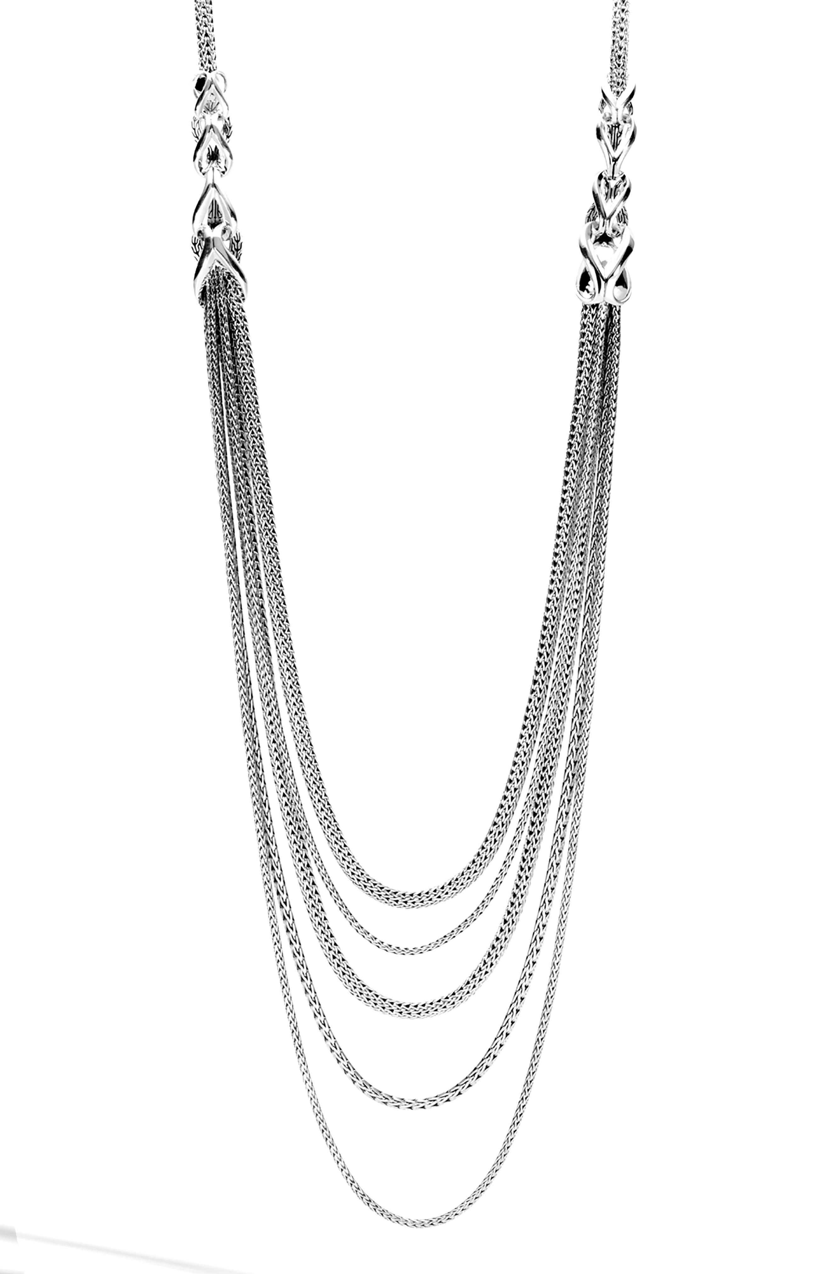 Asli Classic Chain Link Bib Necklace, Main, color, SILVER