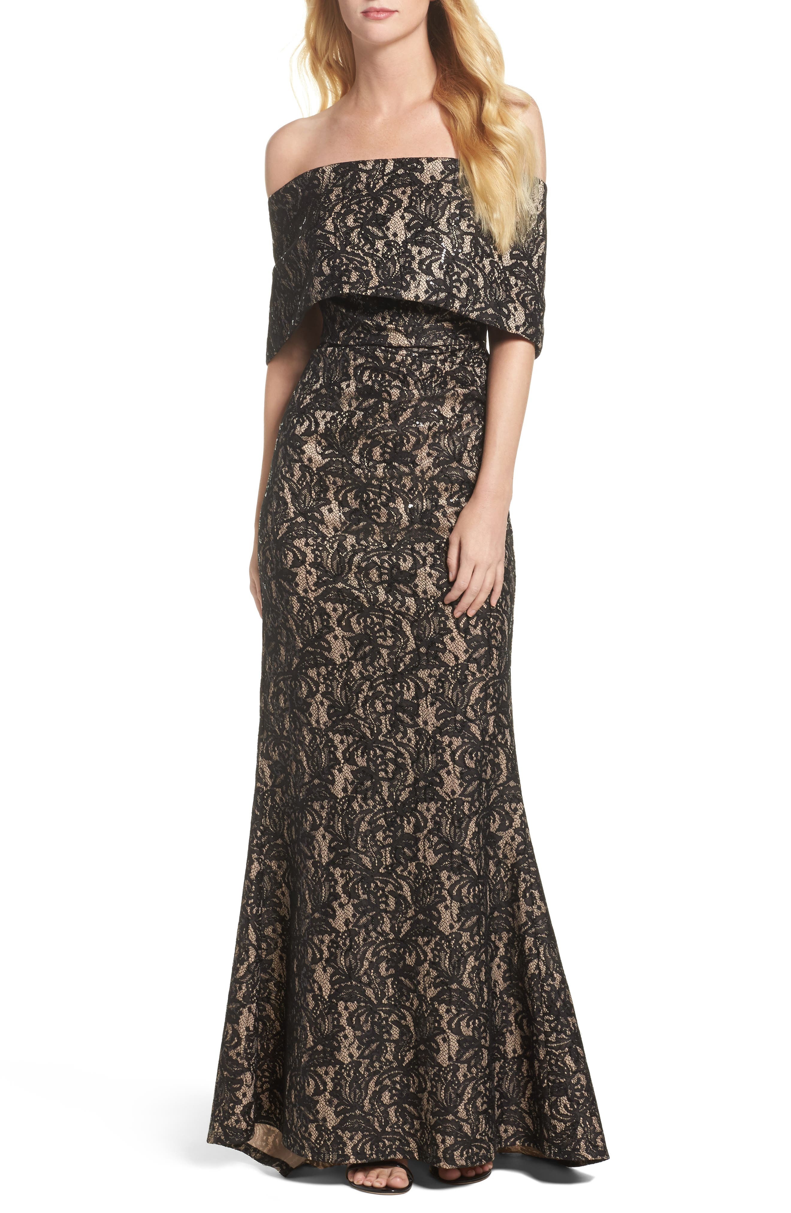 VINCE CAMUTO Sequin Off the Shoulder Gown, Main, color, BLACK/ TAN