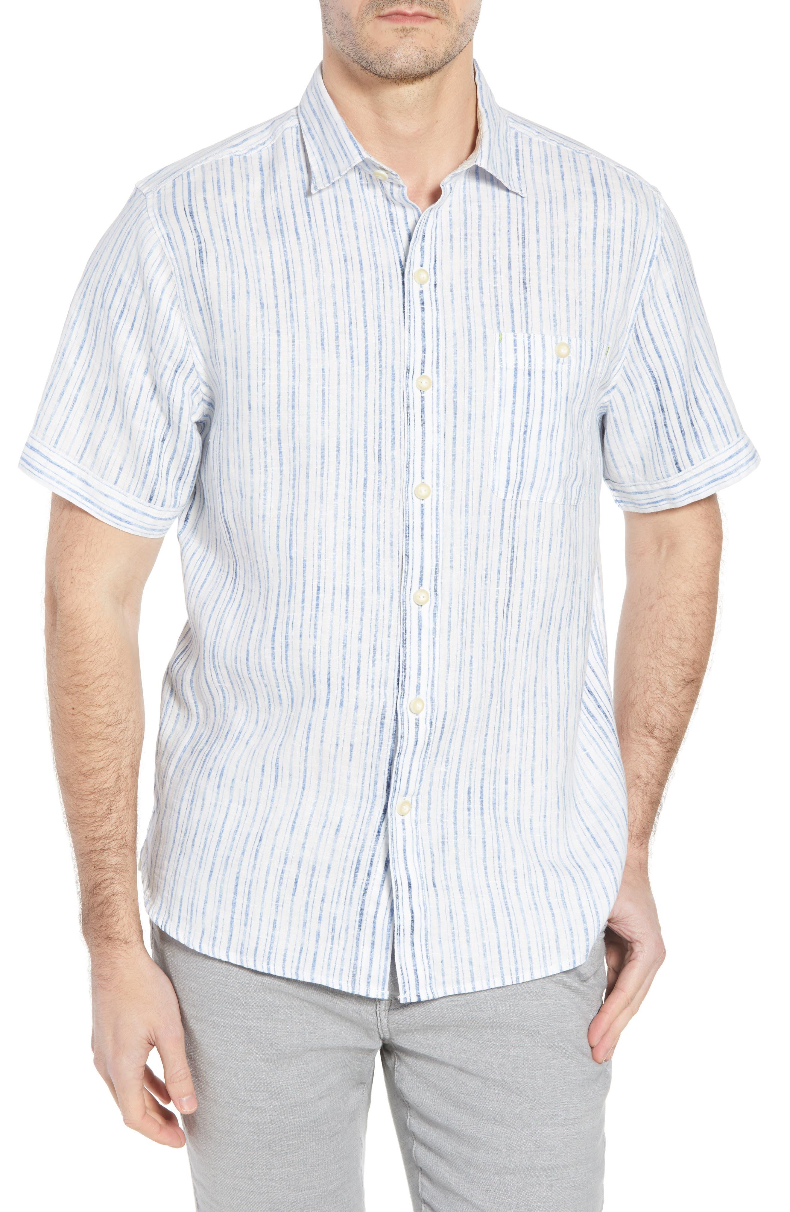 Del Soul Stripe Linen Sport Shirt,                         Main,                         color, BLUE SPARK