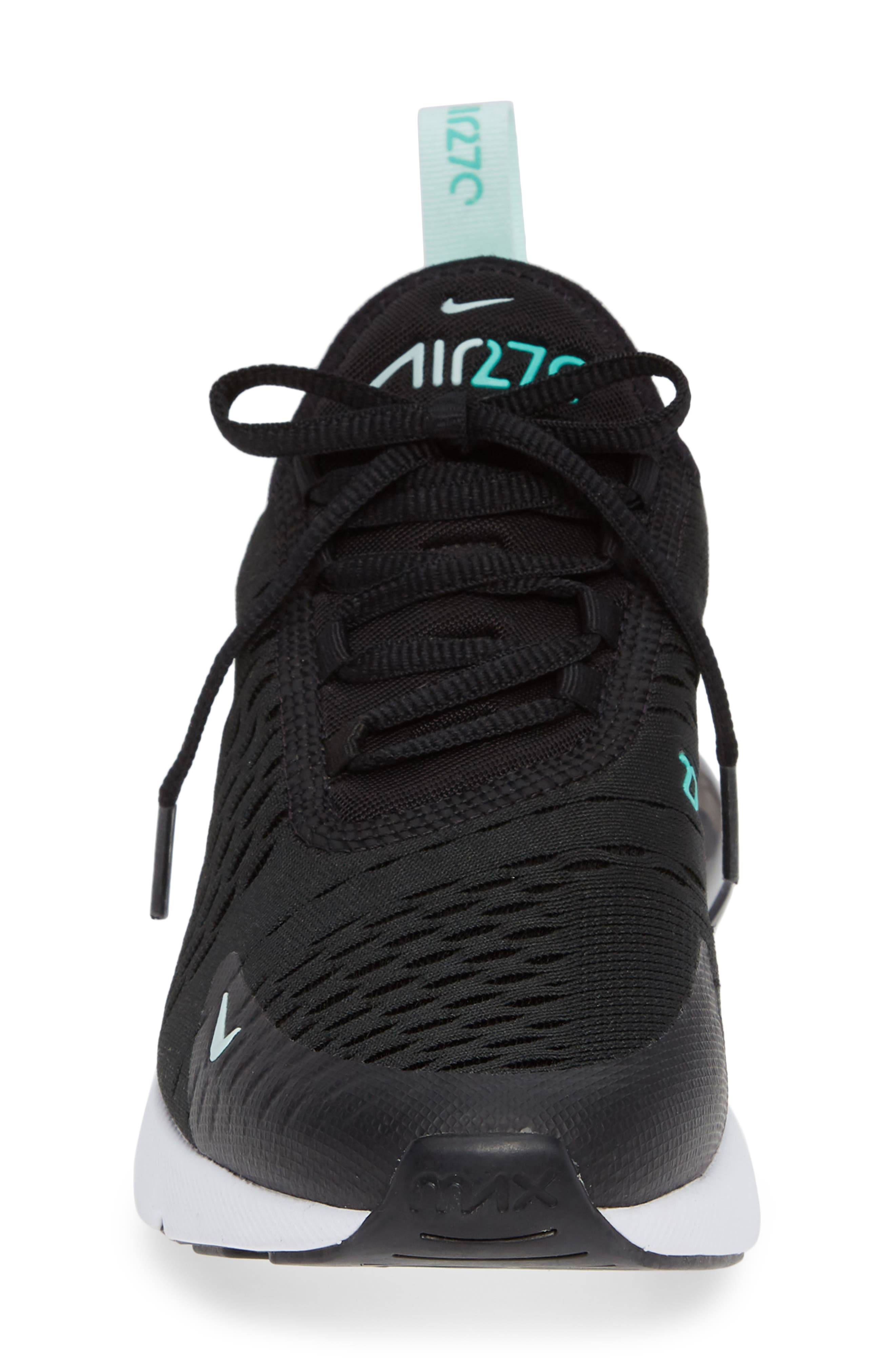Air Max 270 Premium Sneaker,                             Alternate thumbnail 4, color,                             BLACK/ IGLOO TURQUOISE WHITE