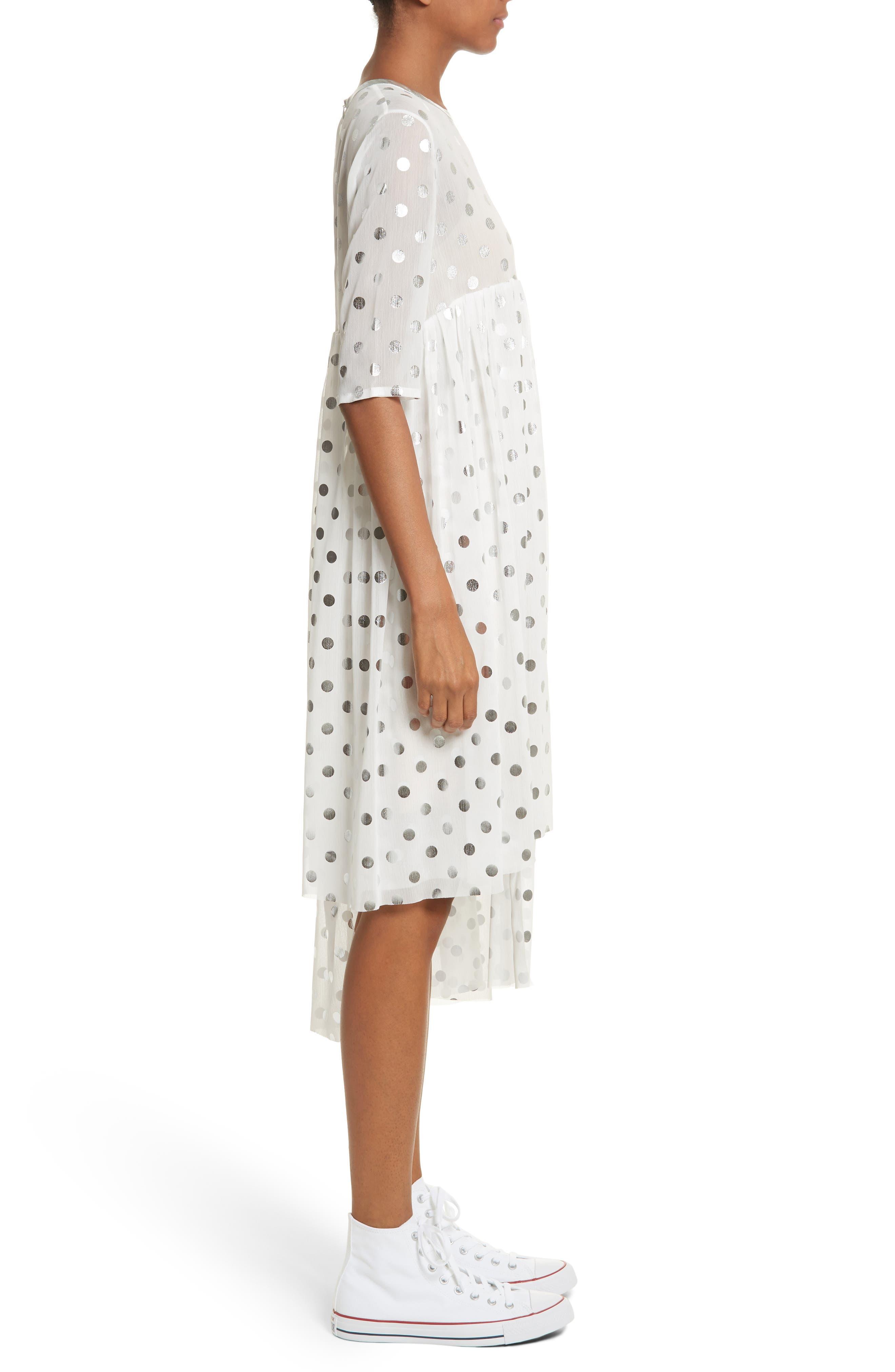 Asymmetric Gathered Short Sleeve Dress,                             Alternate thumbnail 3, color,                             110
