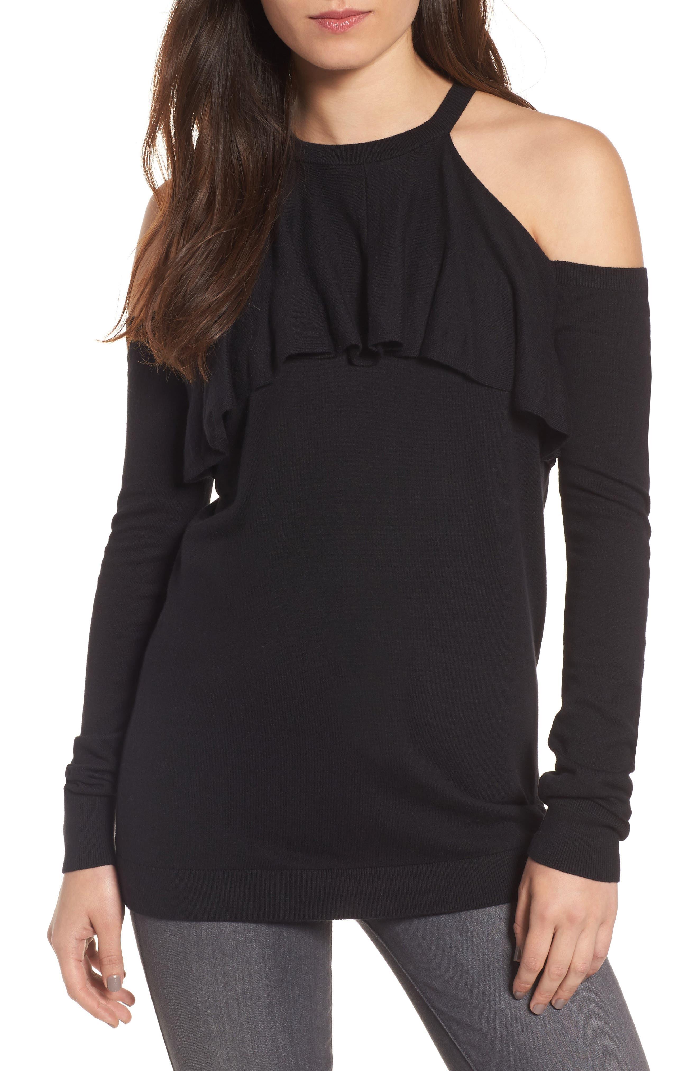 Cold Shoulder Sweater,                         Main,                         color, 001