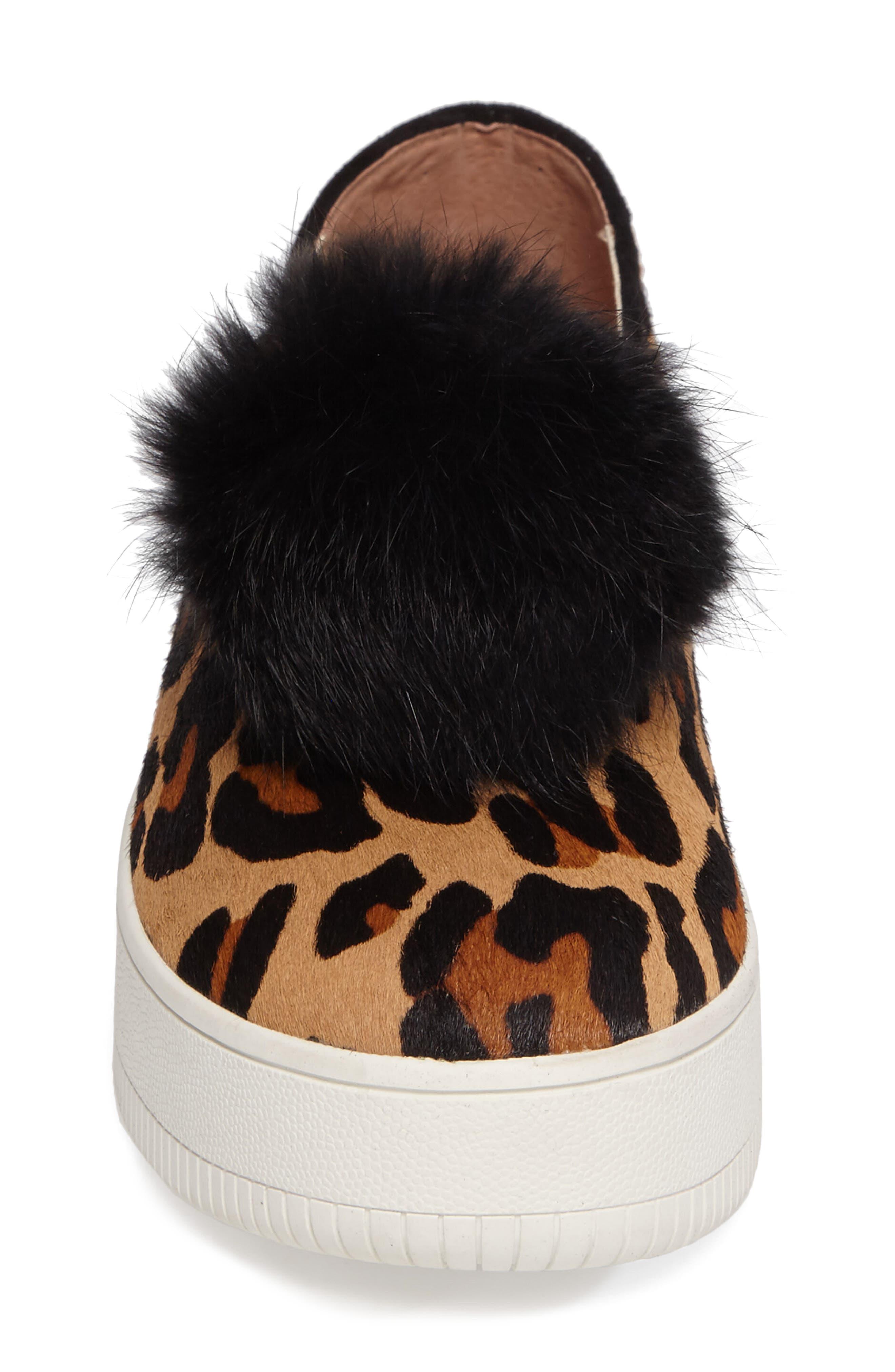 Sammy II Genuine Calf Hair Platform Sneaker with Genuine Rabbit Fur Trim,                             Alternate thumbnail 4, color,                             215