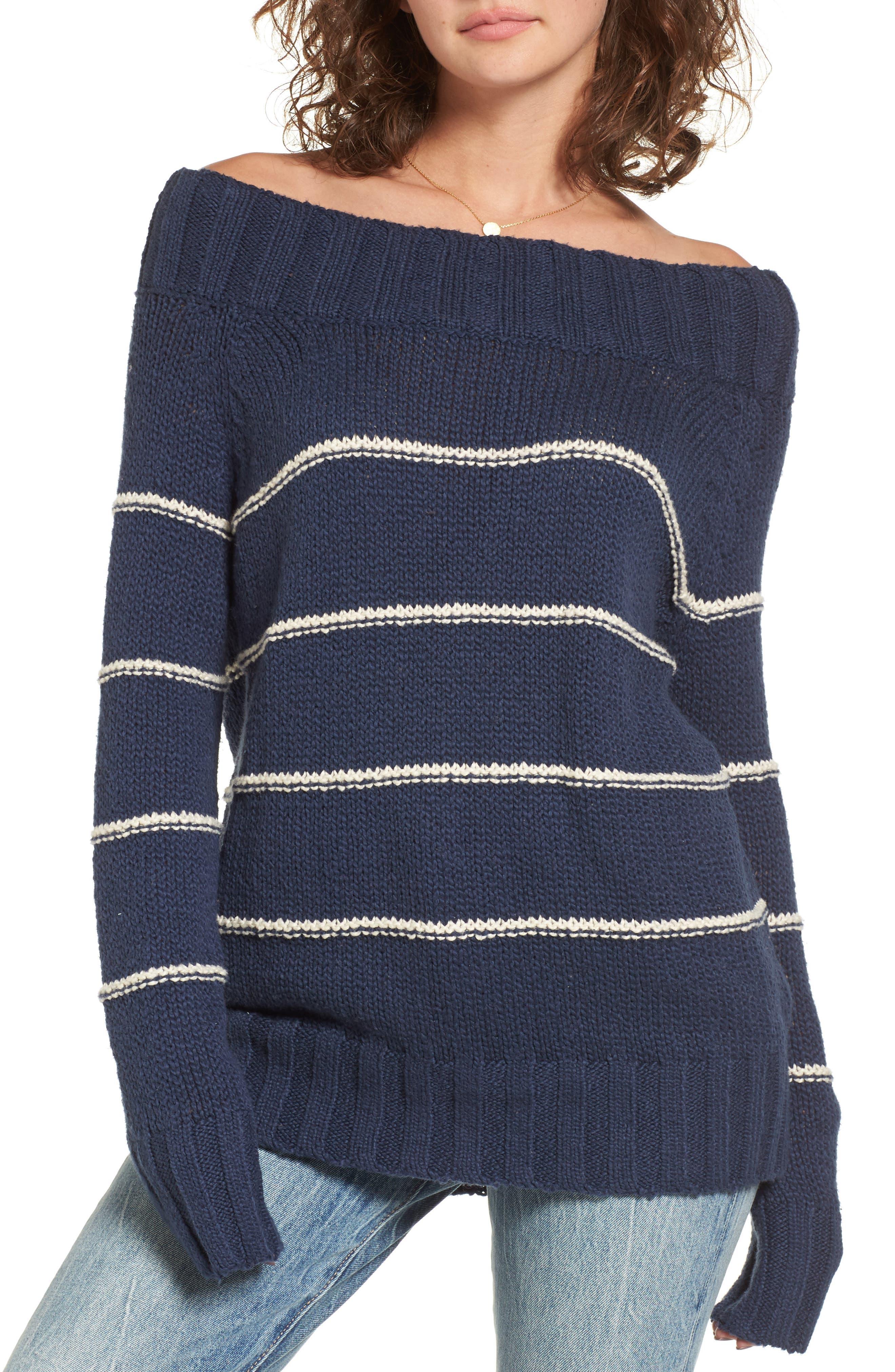 BILLABONG,                             Snuggle Down Off the Shoulder Sweater,                             Alternate thumbnail 4, color,                             400