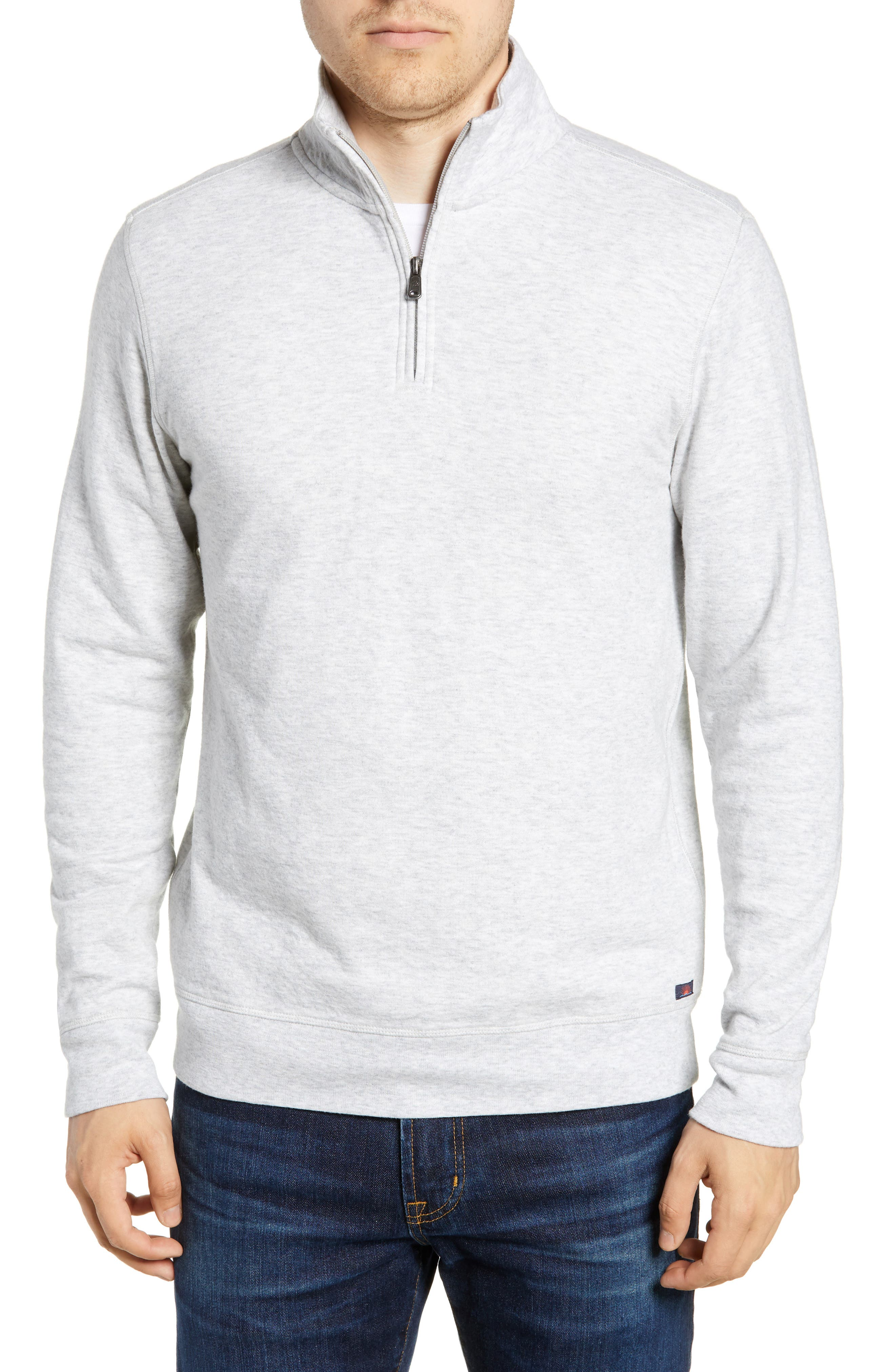 Brand Dual Knit Regular Fit Quarter Zip Pullover,                             Main thumbnail 1, color,                             ATHLETIC GREY