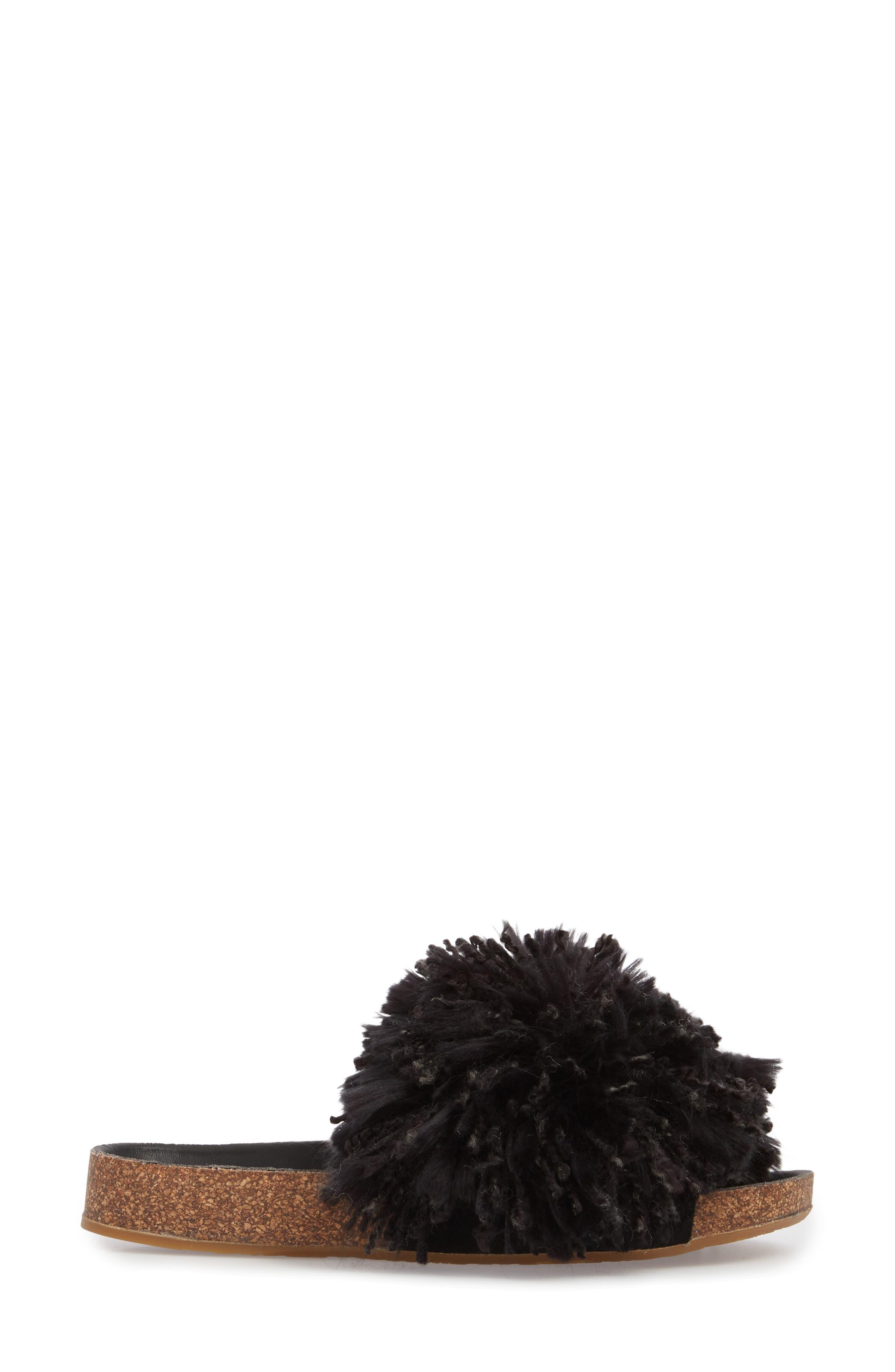 Cindi Yarn Pom Sandal,                             Alternate thumbnail 3, color,                             BLACK