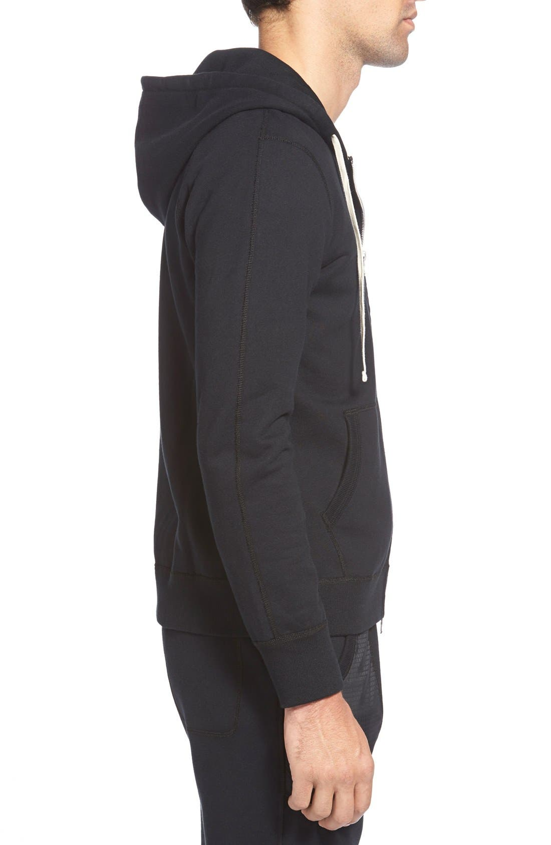 Core Zip Front Hoodie,                             Alternate thumbnail 4, color,                             BLACK