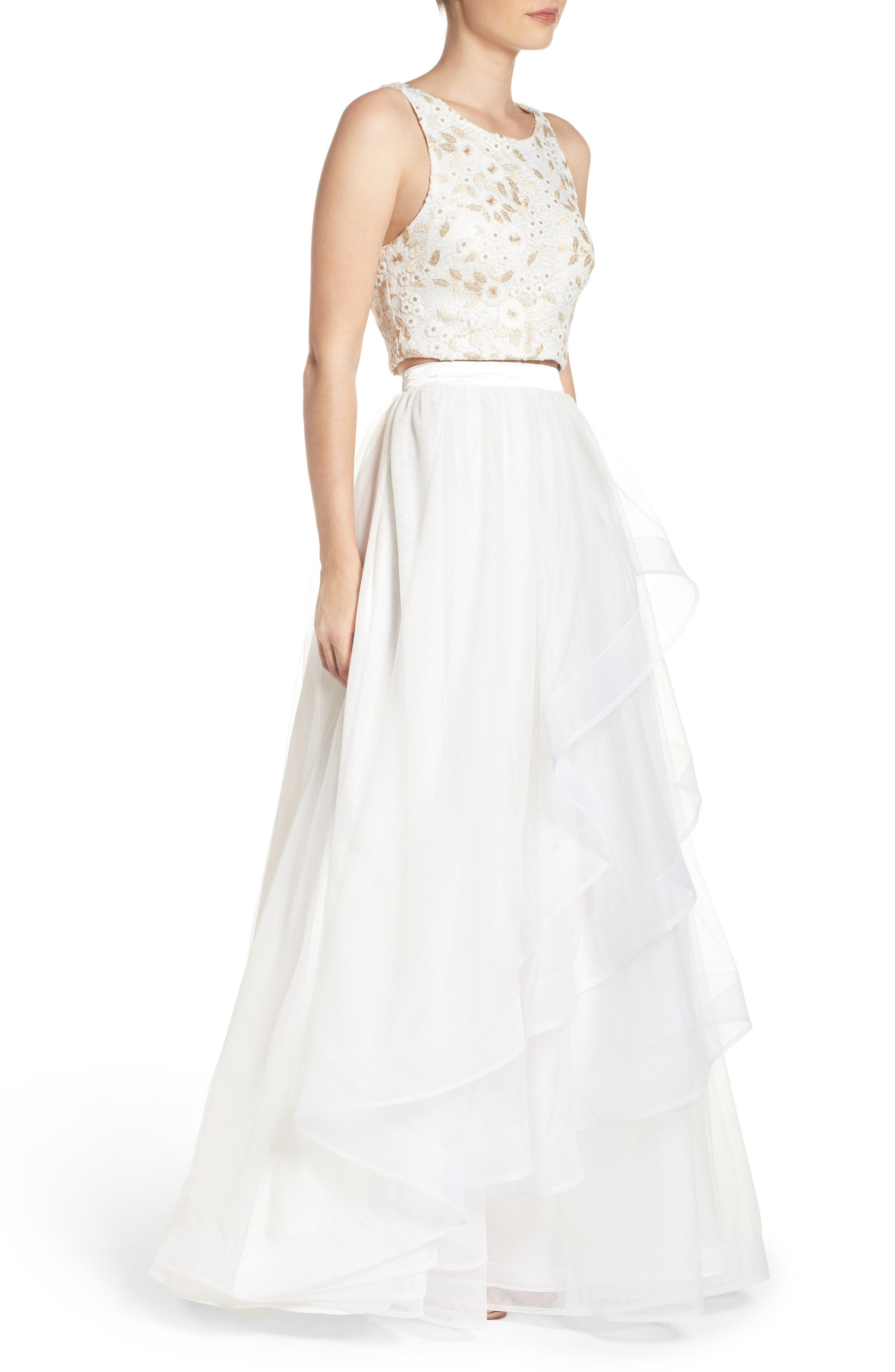 Embroidered Tulle Two-Piece Gown,                             Alternate thumbnail 3, color,