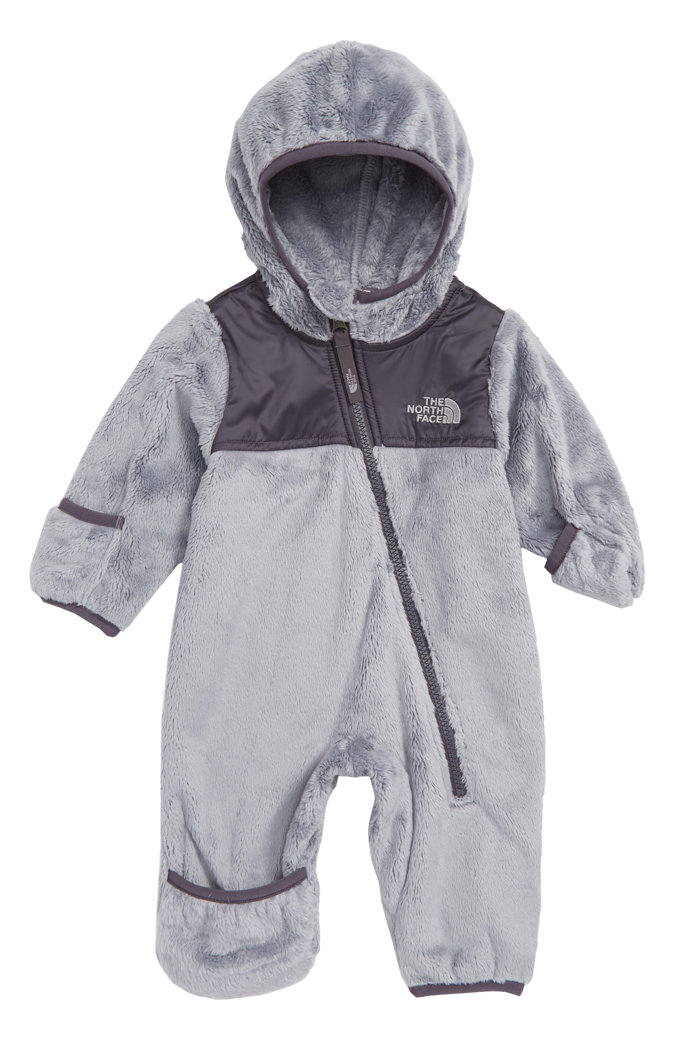 Oso Hooded Fleece Romper,                         Main,                         color, MEDIUM GREY