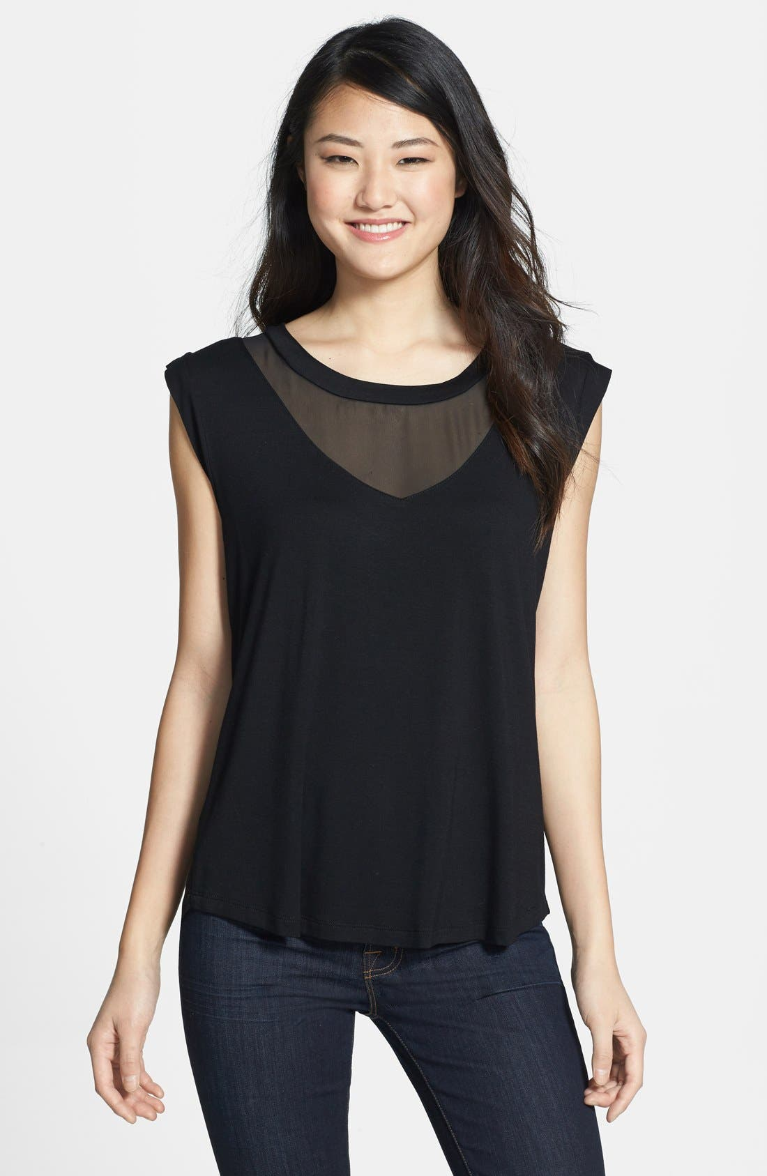 Sheer Inset Tee,                         Main,                         color, 001