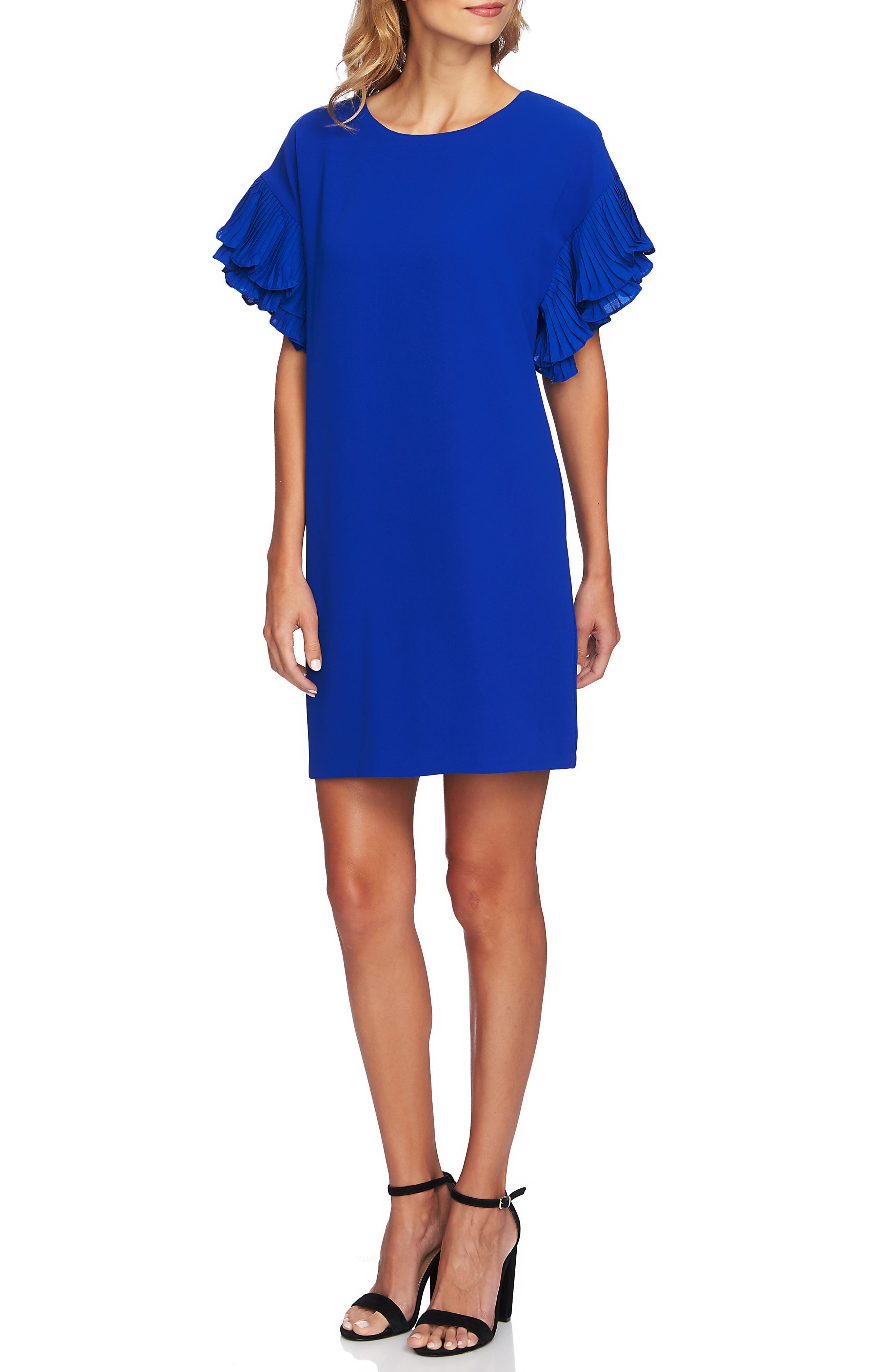 Tiered Pleated Crepe Shift Dress,                         Main,                         color, COBALT