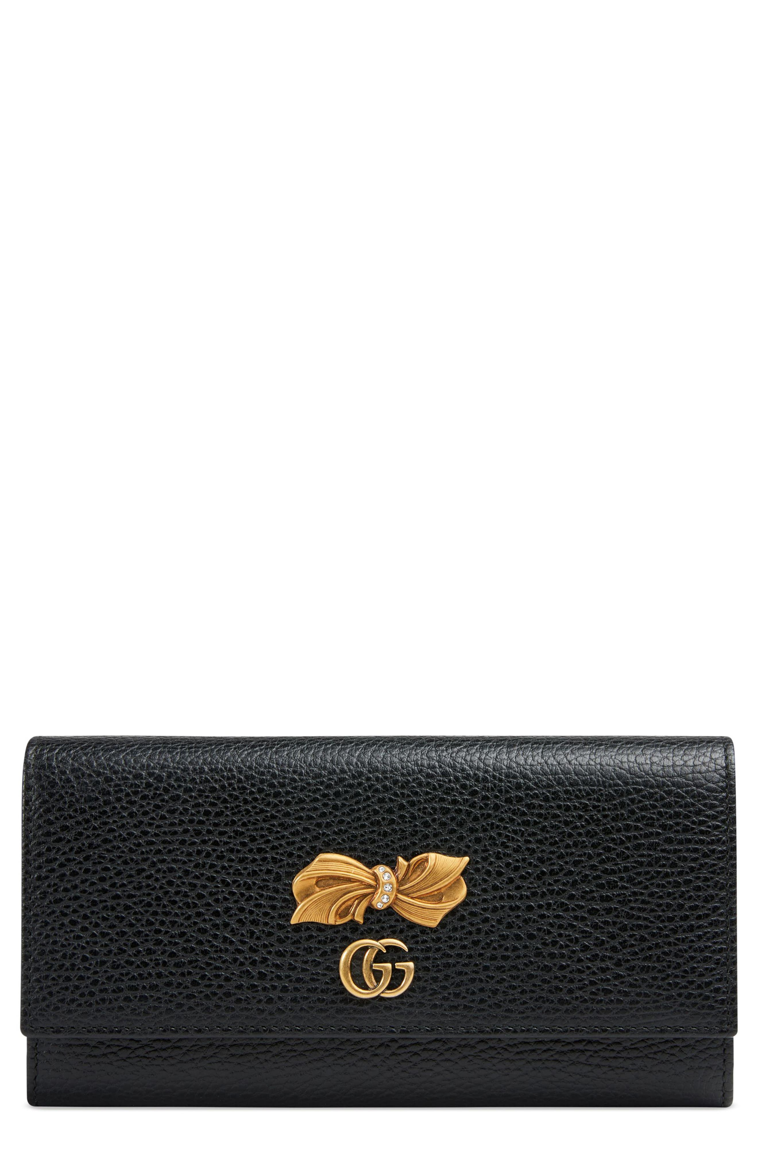 Fiocchino Bow Leather Continental Wallet,                             Main thumbnail 1, color,                             001