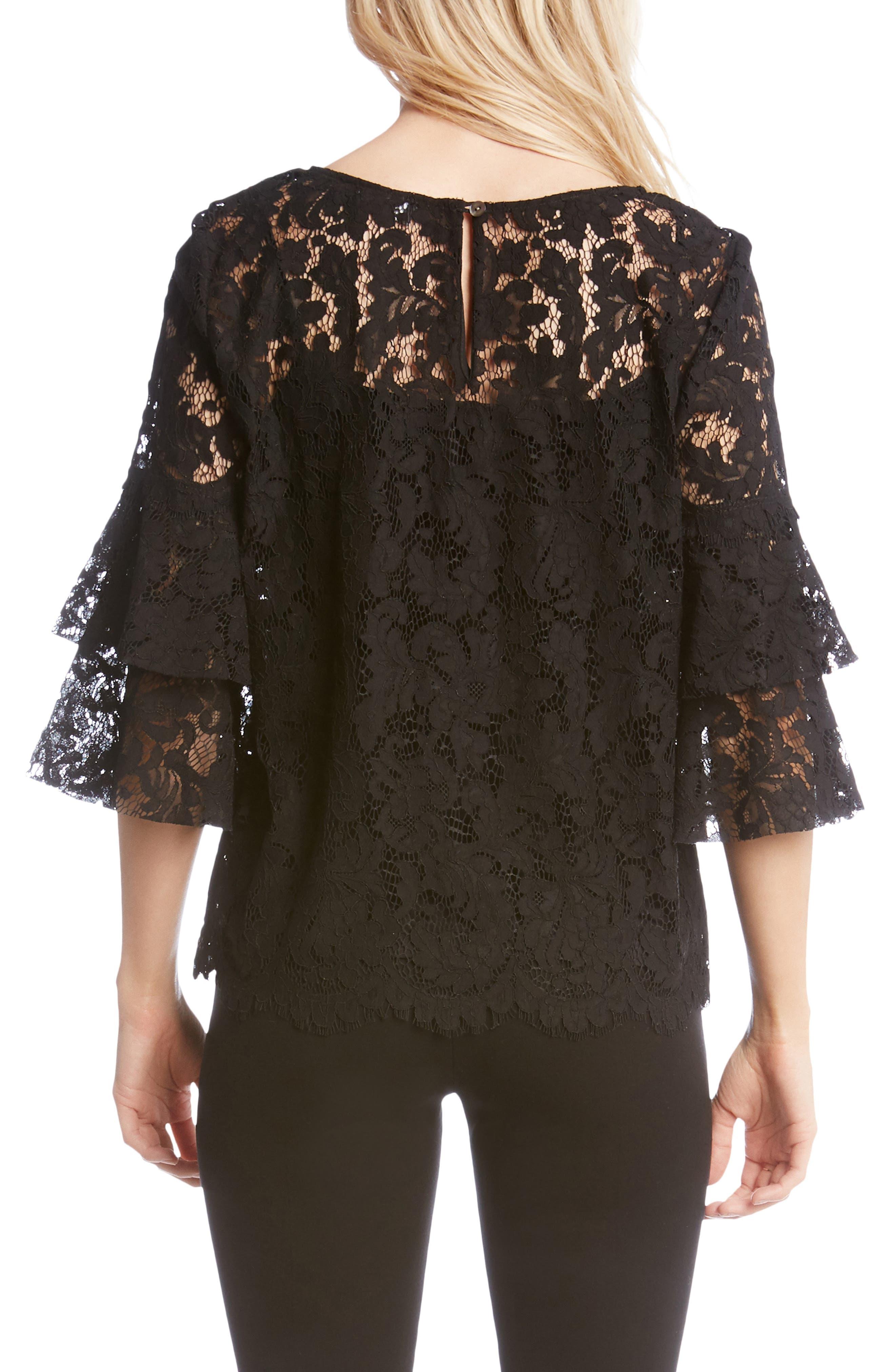 Lace Ruffle Sleeve Top,                             Alternate thumbnail 2, color,                             BLACK