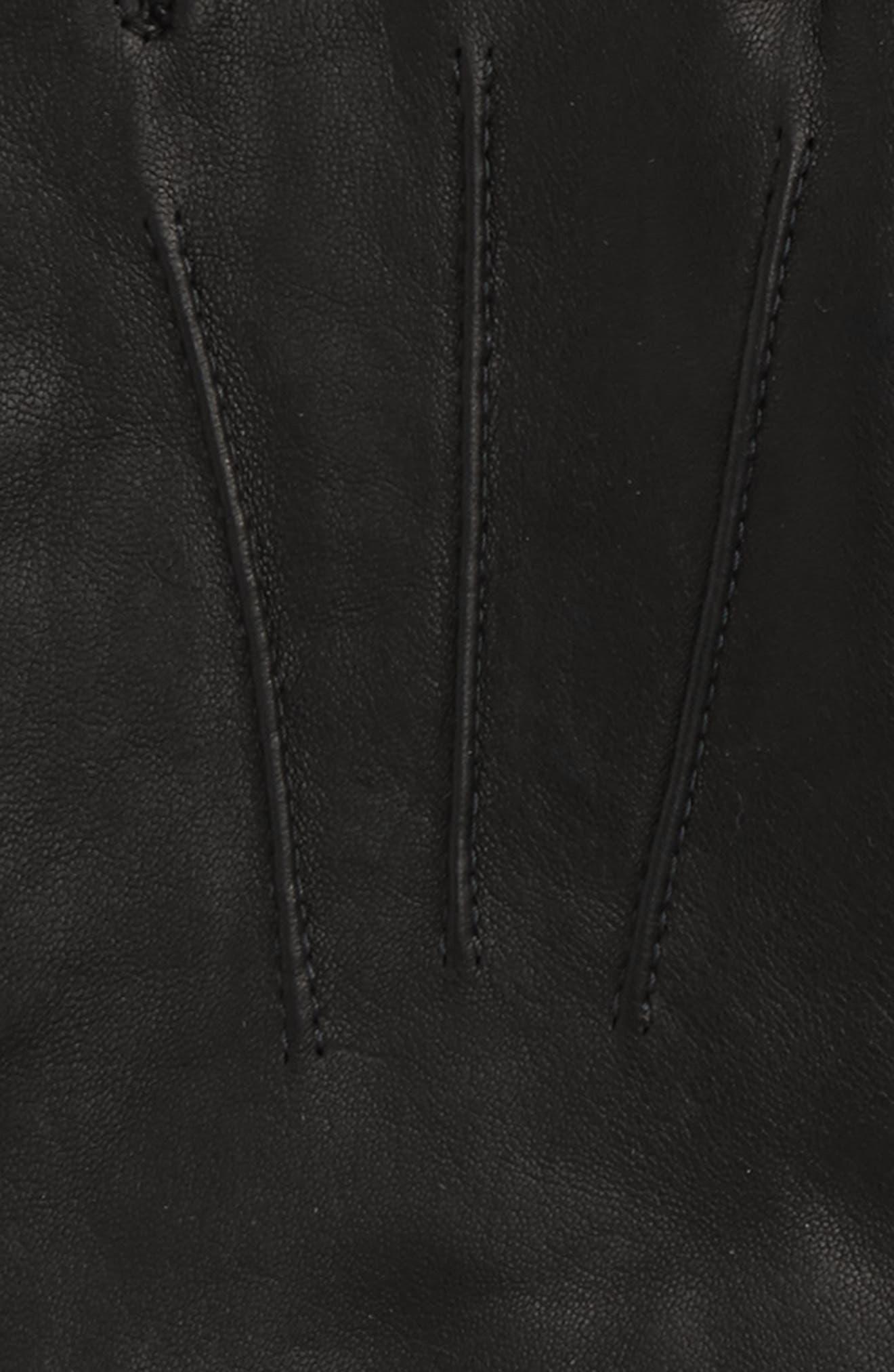 Leather Gloves,                             Alternate thumbnail 3, color,                             BLACK