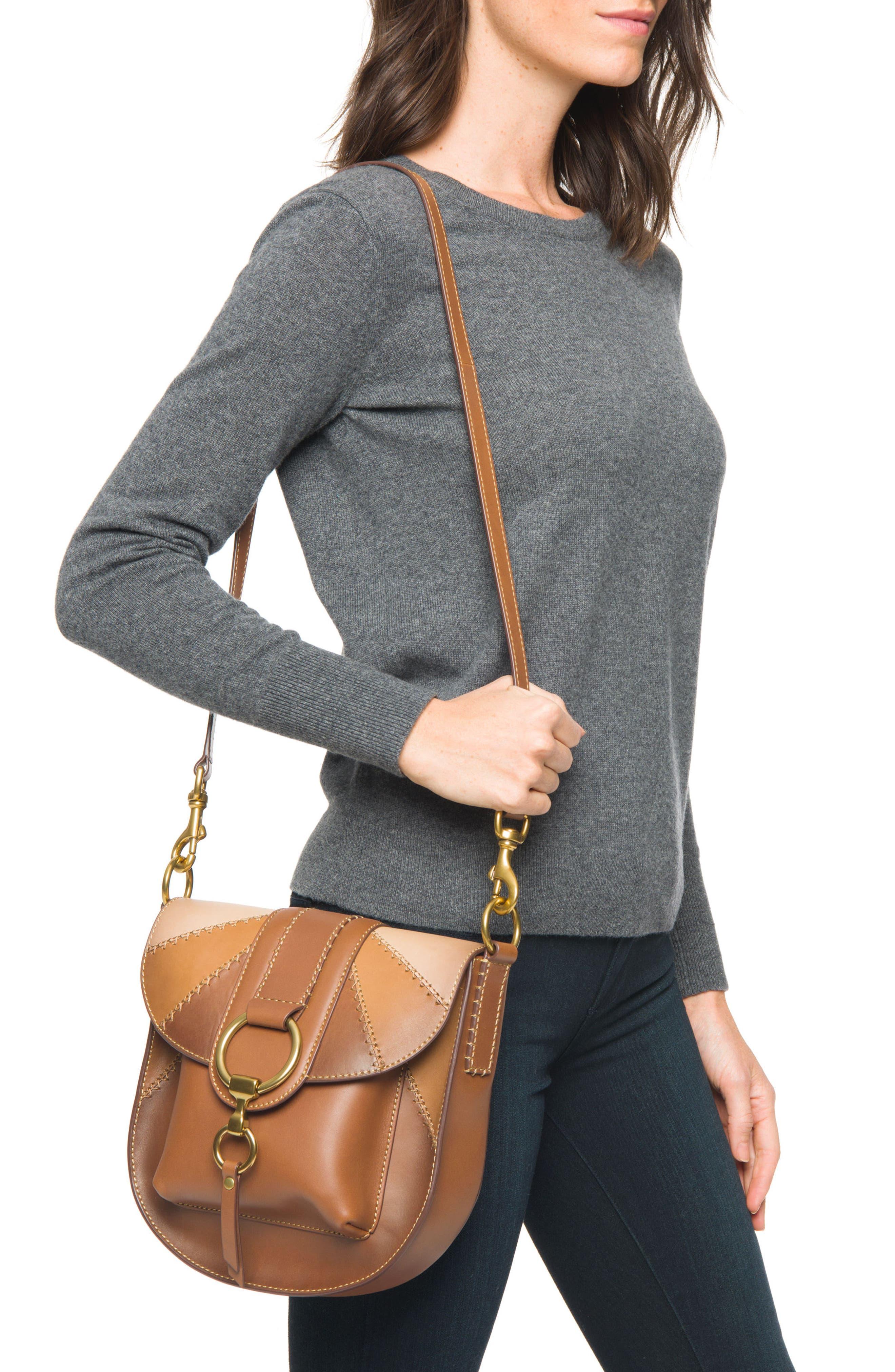 Ilana Colorblock Leather Saddle Bag,                             Alternate thumbnail 2, color,                             200