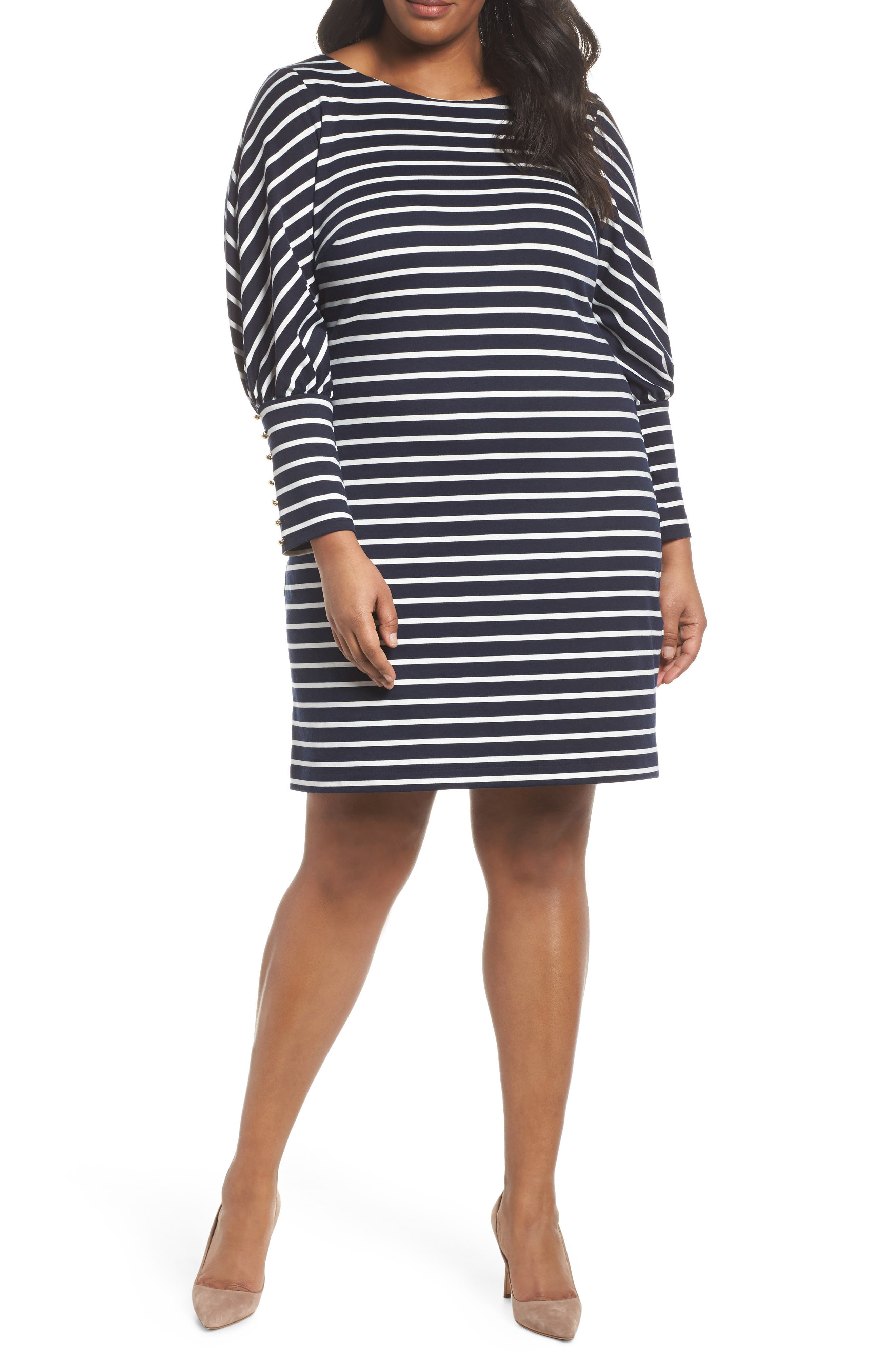 Stripe Ponte Shift Dress,                             Main thumbnail 1, color,                             407