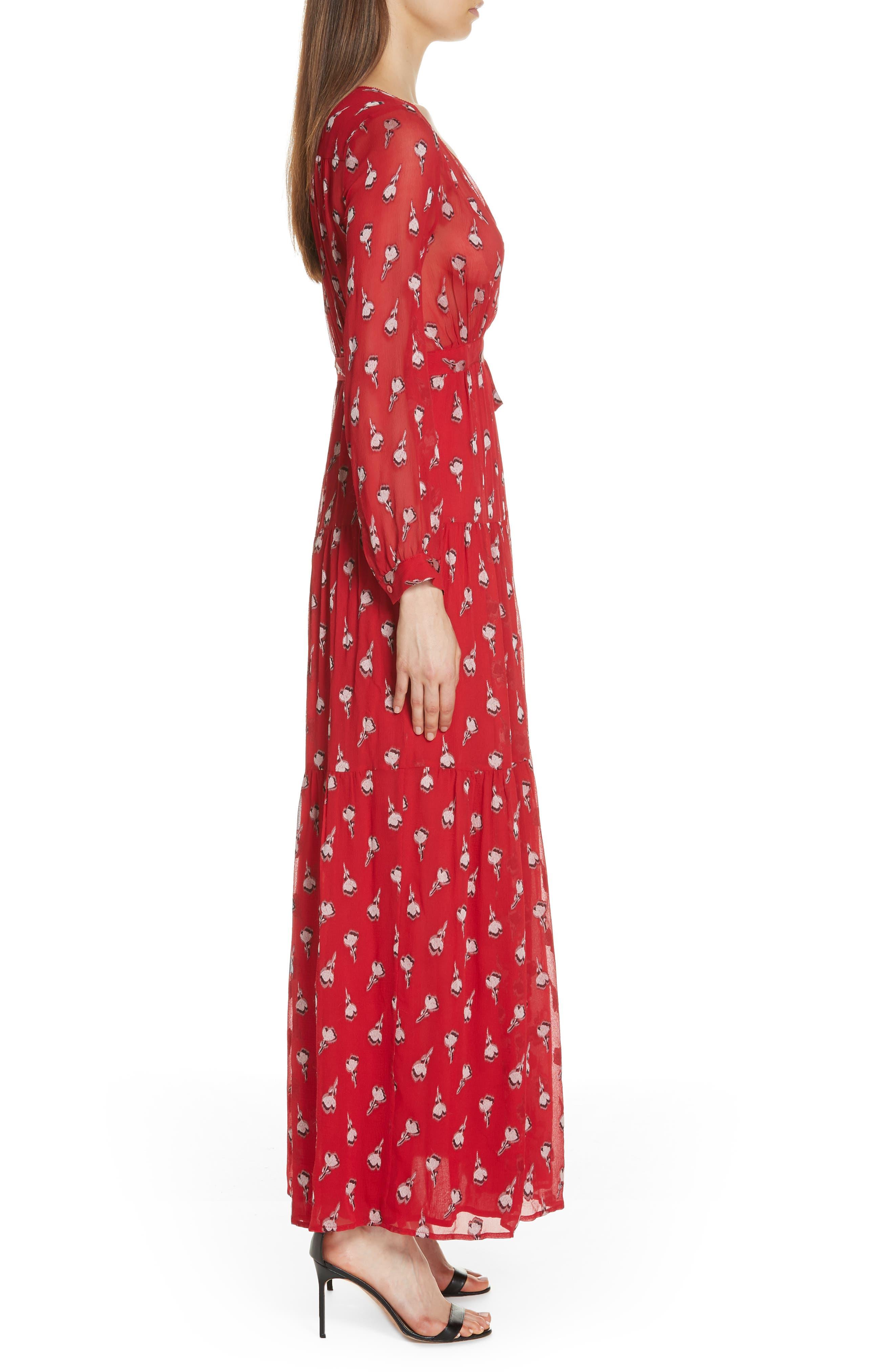 Madona Floral Surplice Silk Blend Chiffon Maxi Dress,                             Alternate thumbnail 3, color,                             600