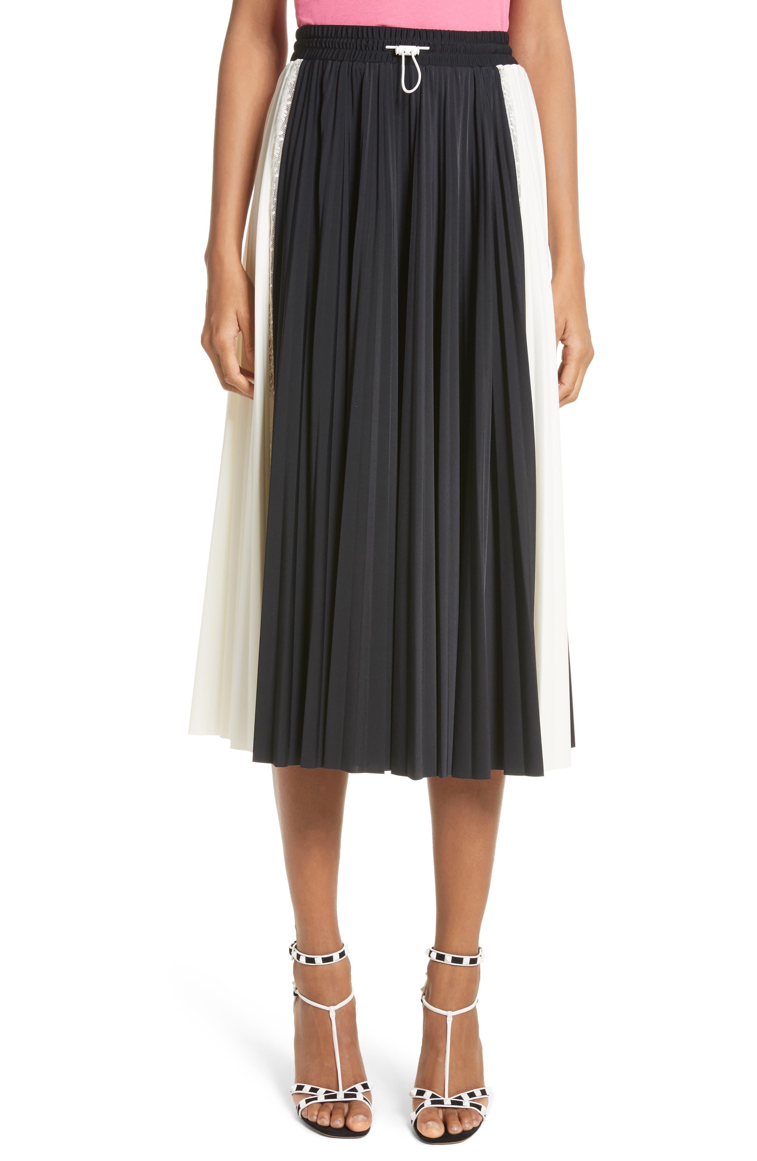 Bicolor Jersey & Lace Plissé Skirt,                             Main thumbnail 1, color,                             001