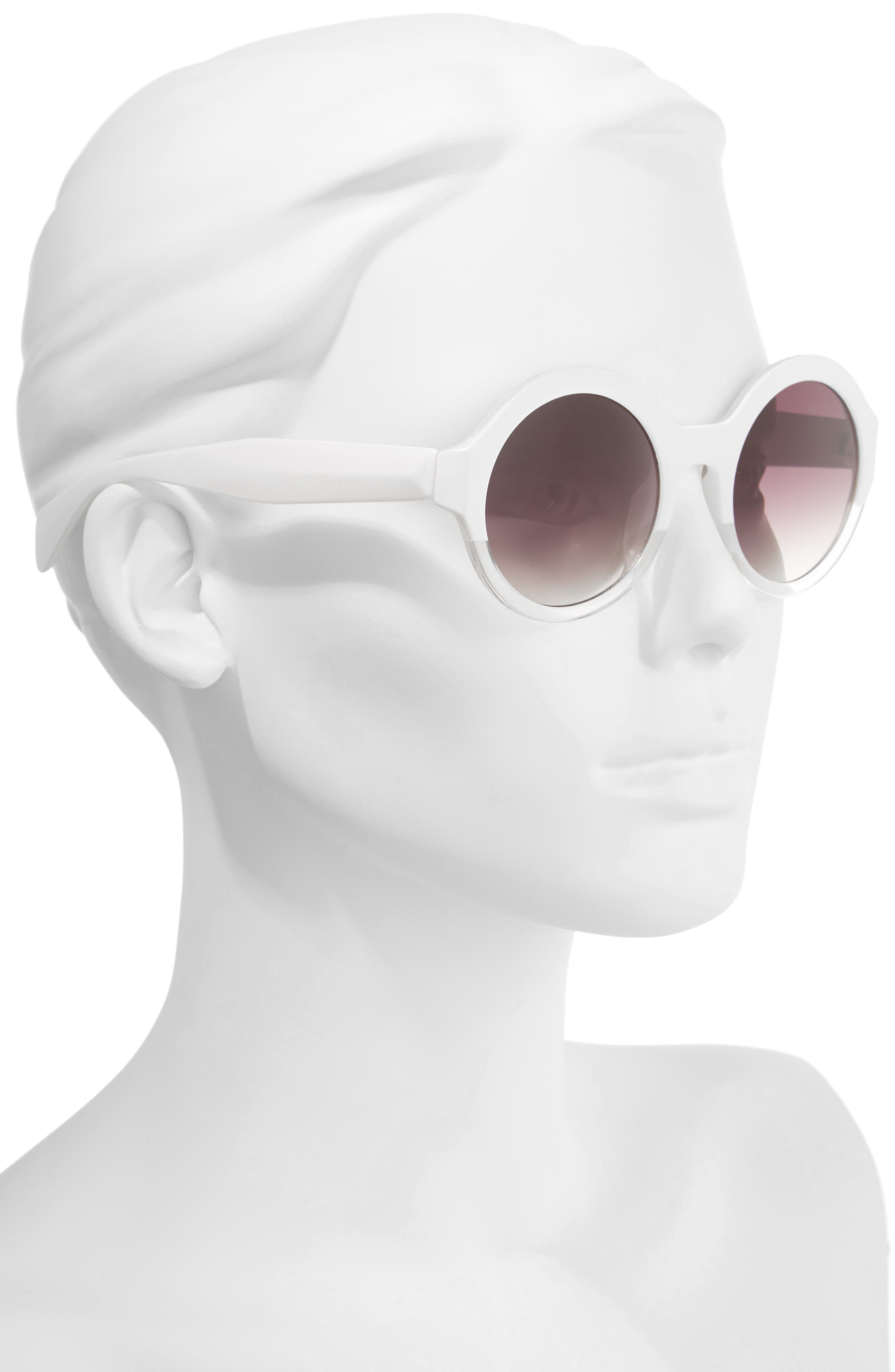 50mm Round 2 Tone Sunglasses,                             Alternate thumbnail 2, color,                             100