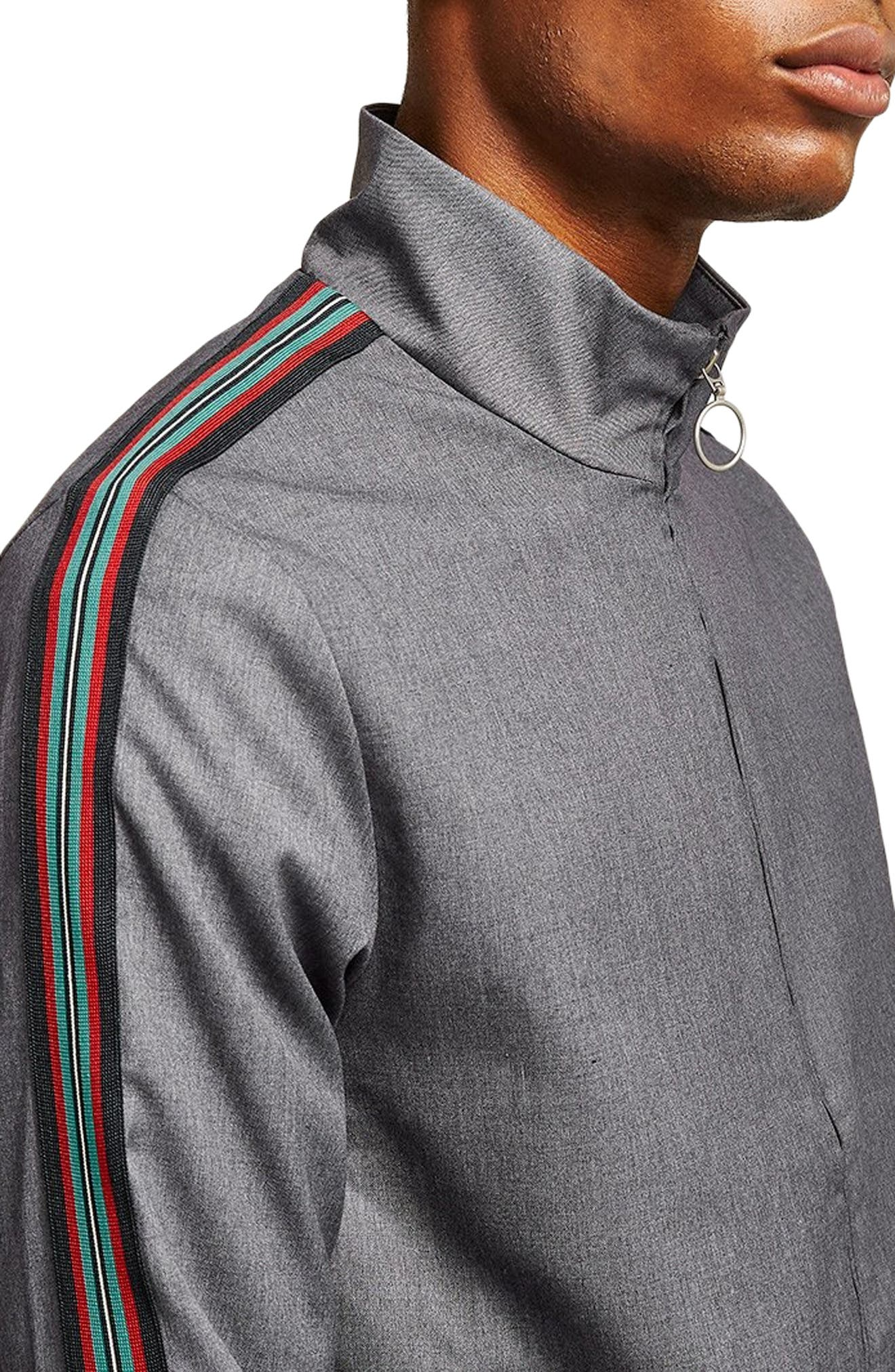 Mélange Stripe Track Jacket,                             Alternate thumbnail 4, color,                             GREY MULTI