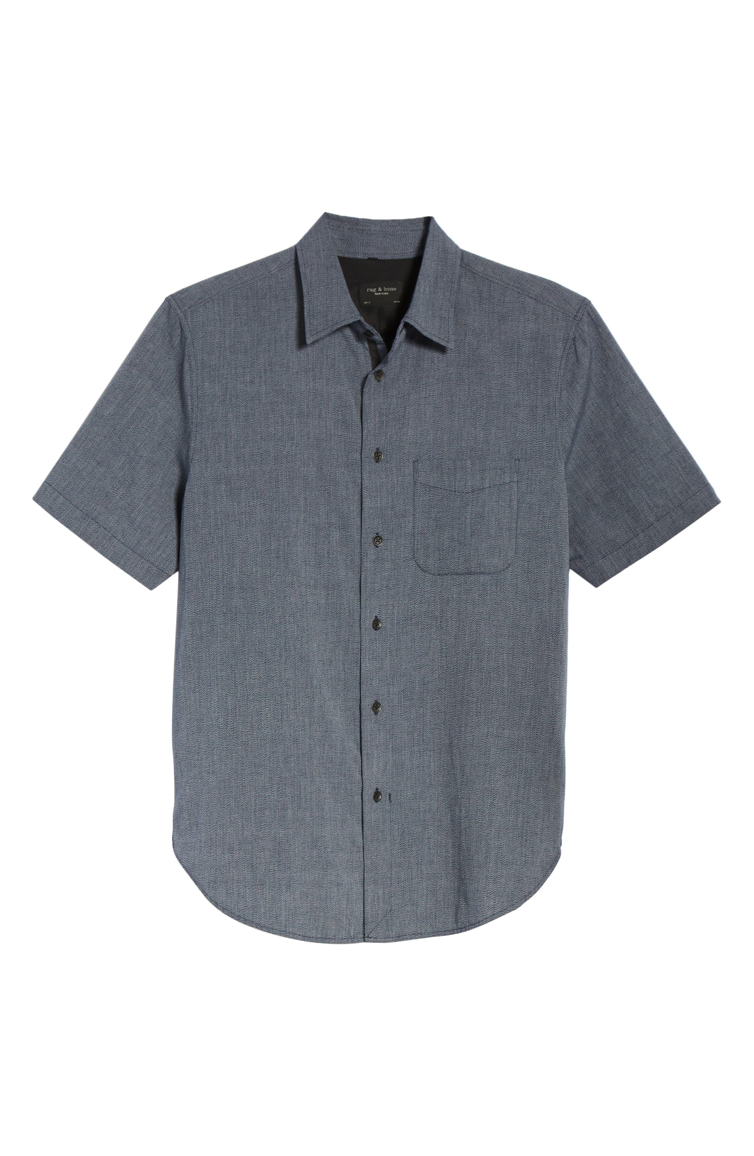 Regular Fit Short Sleeve Sport Shirt,                             Alternate thumbnail 6, color,                             BLUE