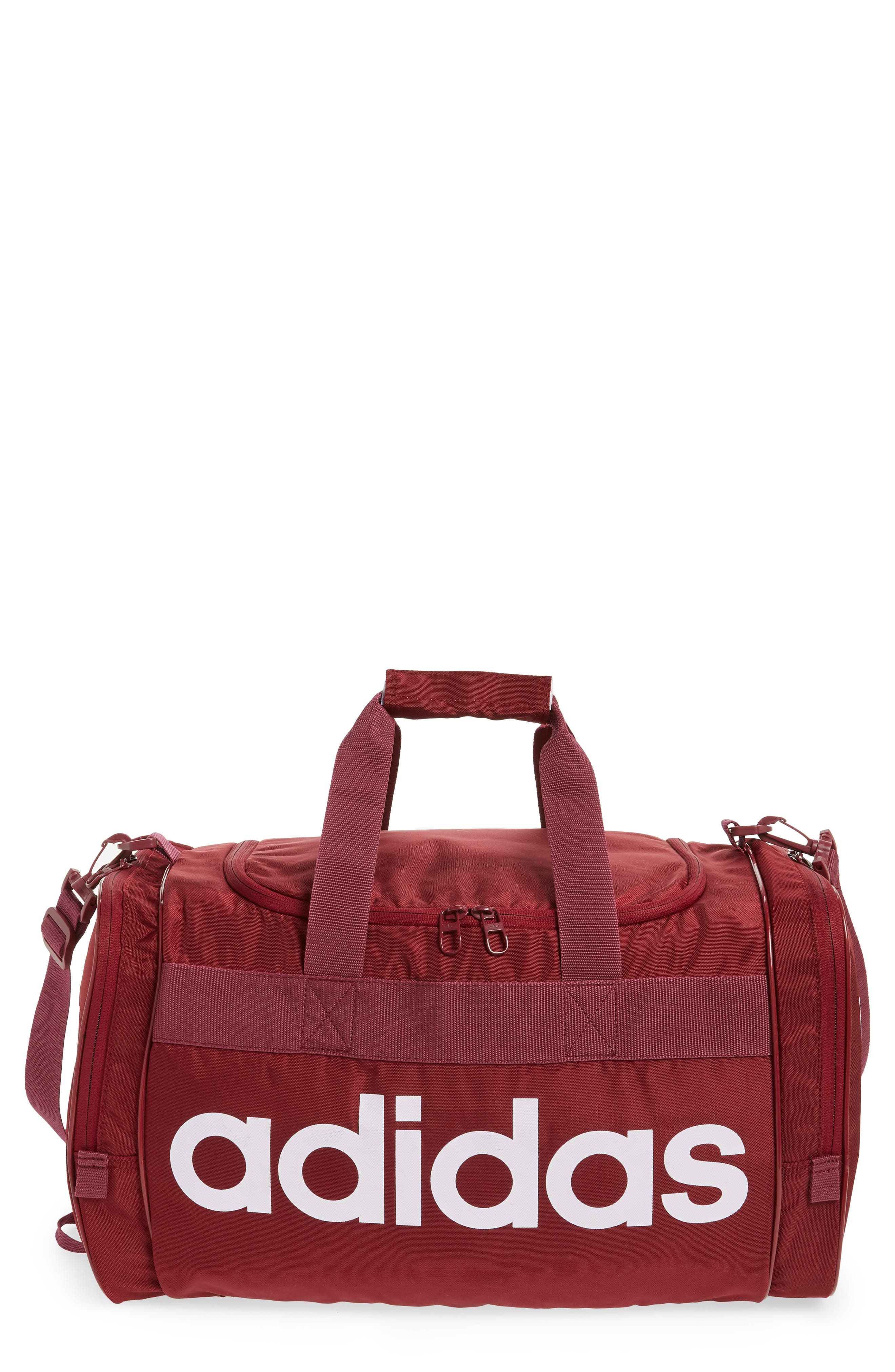 adidas Original Santiago Duffel Bag,                             Main thumbnail 1, color,                             COLLEGIATE BURGUNDY/ WHITE